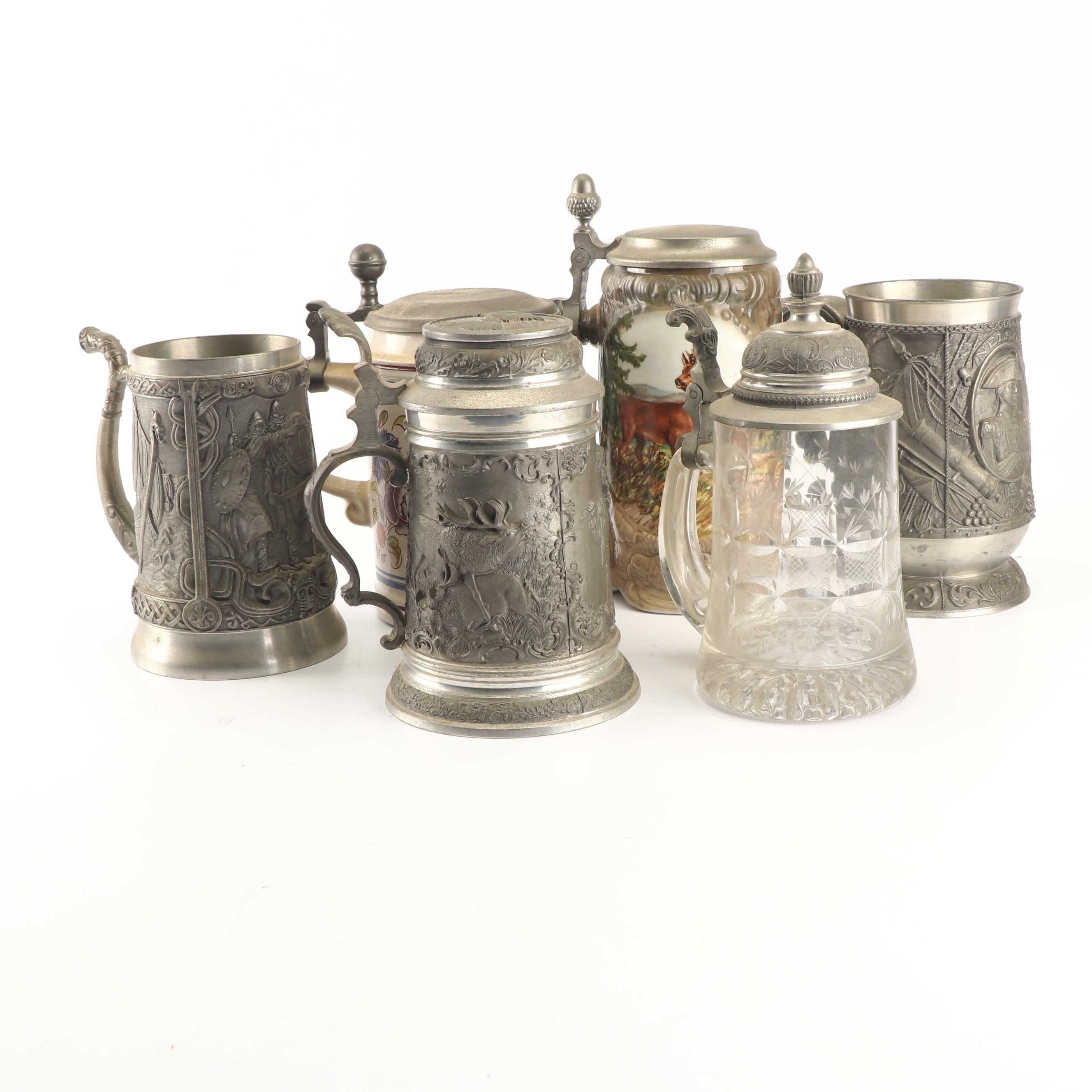Embossed Pewter Tankards with Other Steins including Gerz and Schrobenhausen