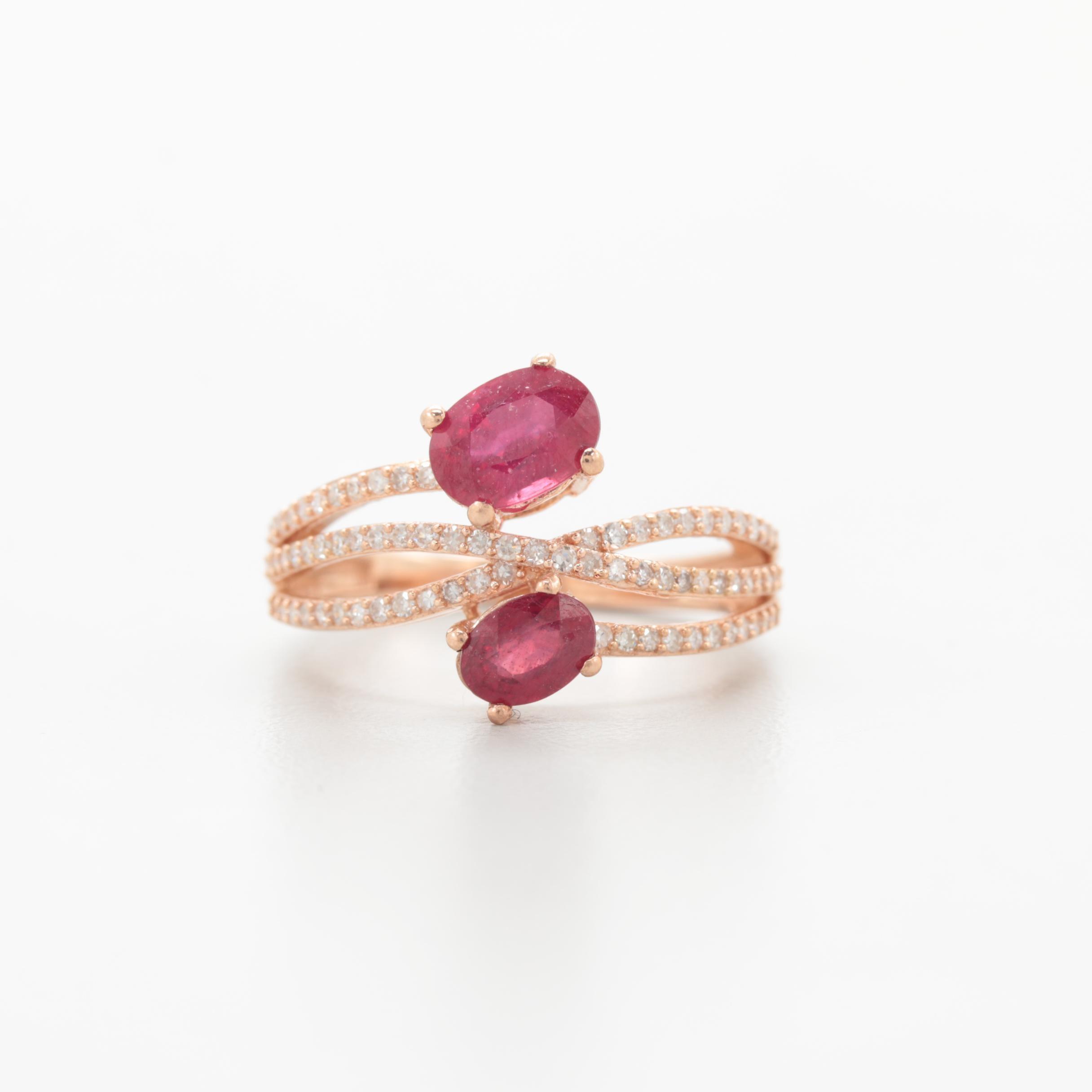 10K Rose Gold Filled Corundum and Diamond Ring
