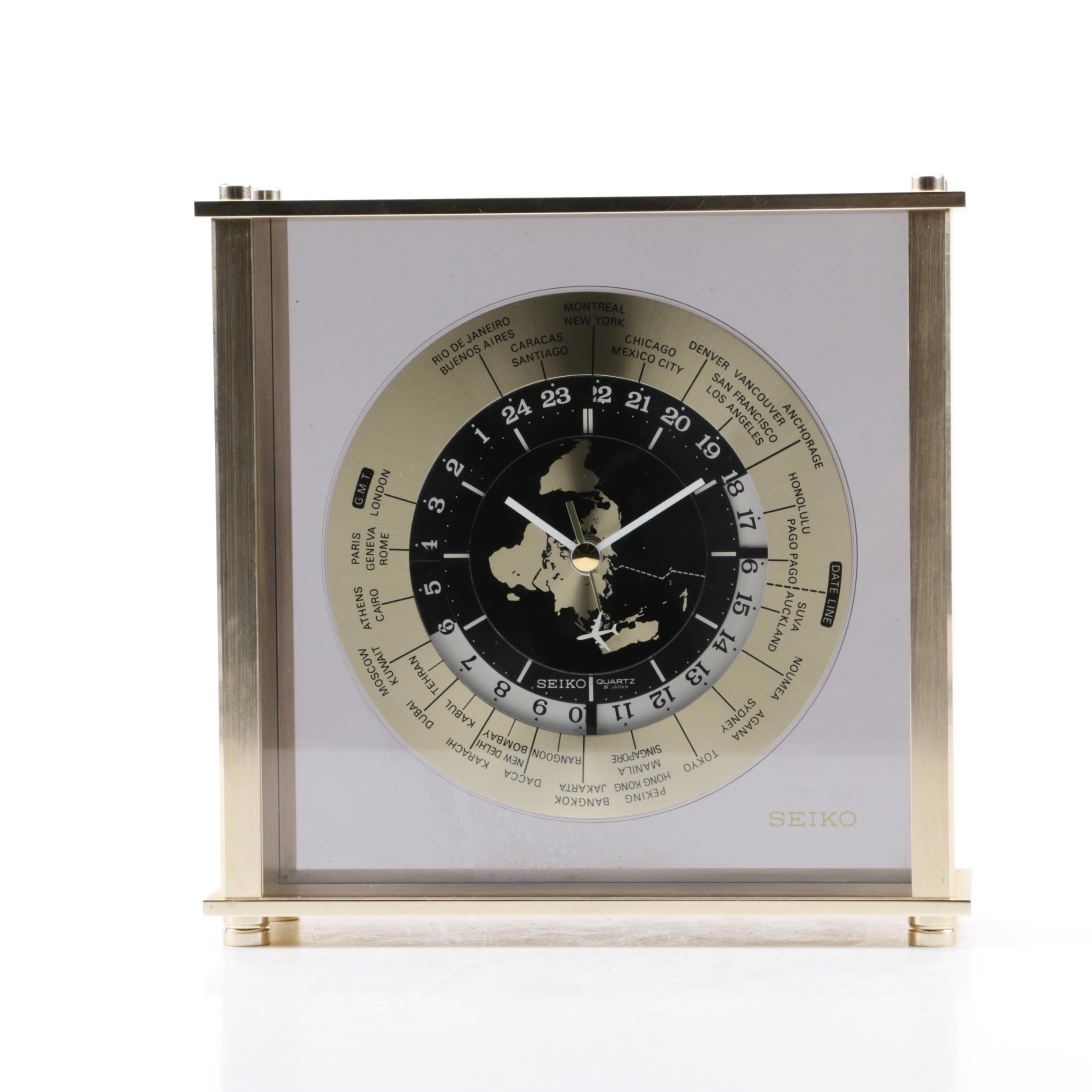 Seiko Brushed Brass Desk Clock with World Time Zones