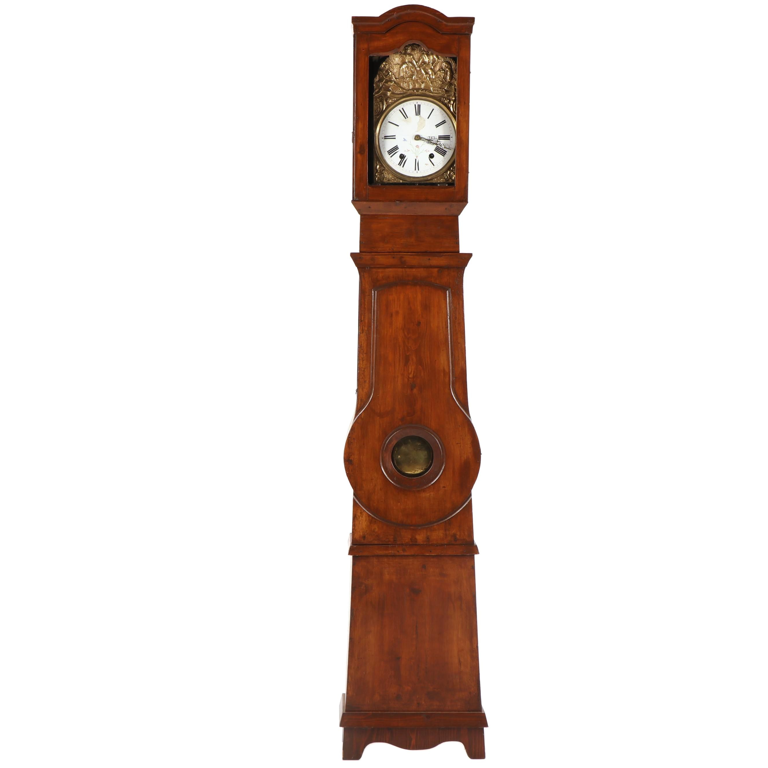 19th Century French Provincial Comtoise Tall Case Clock