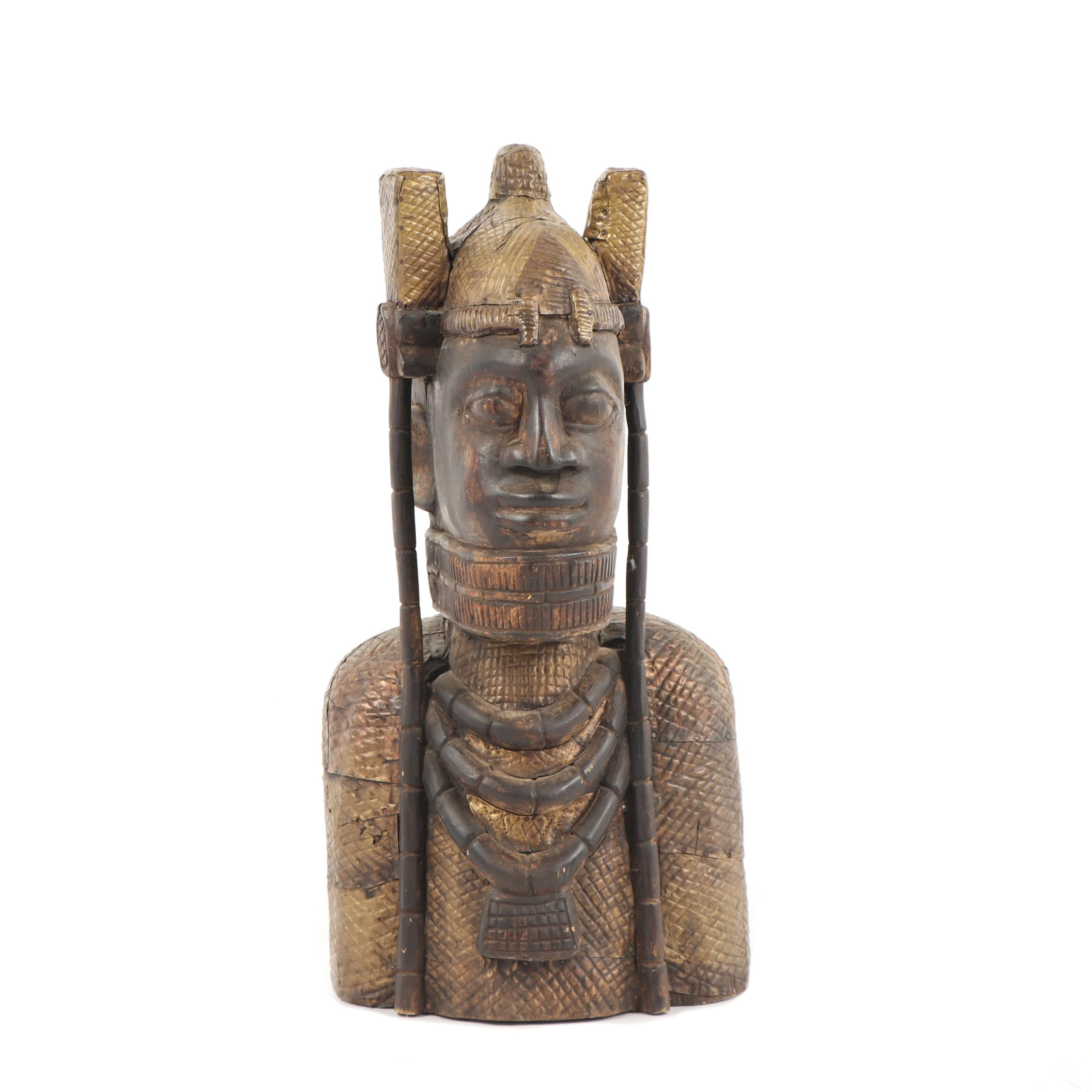 African Inspired Carved Wood with Brass Figural Sculpture