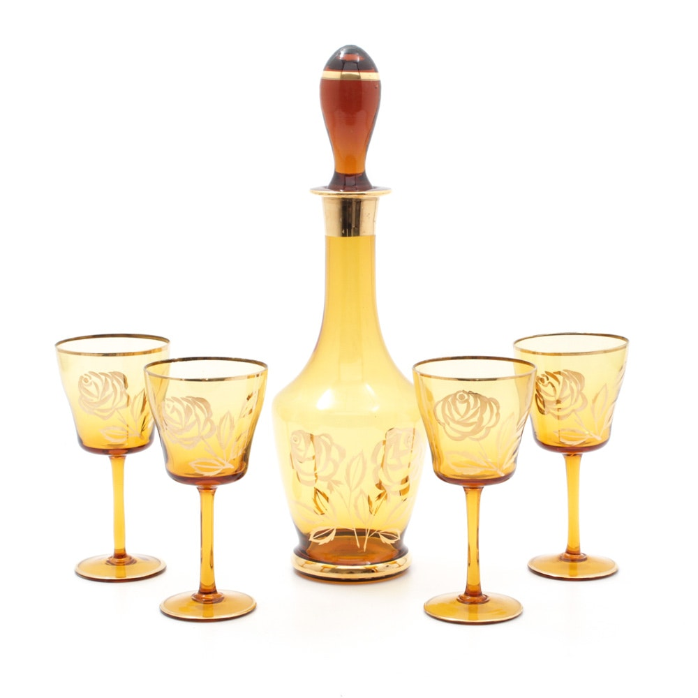Mid Century Bohemian Amber Glass Decanter and Stemware Set