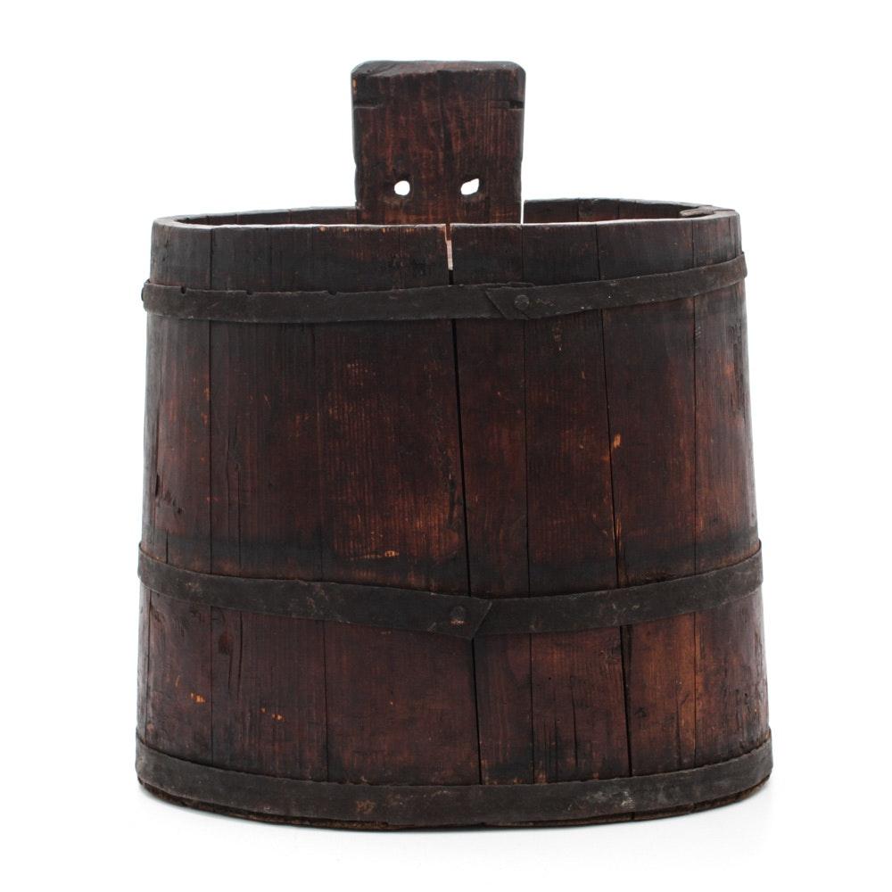 Antique Wooden Oval Barrel