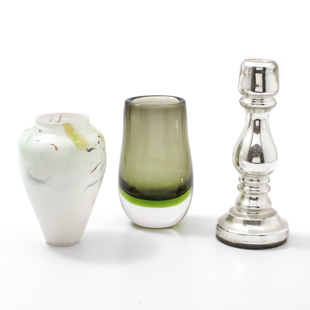 Art Glass Vases and Mercury Glass Candlestick