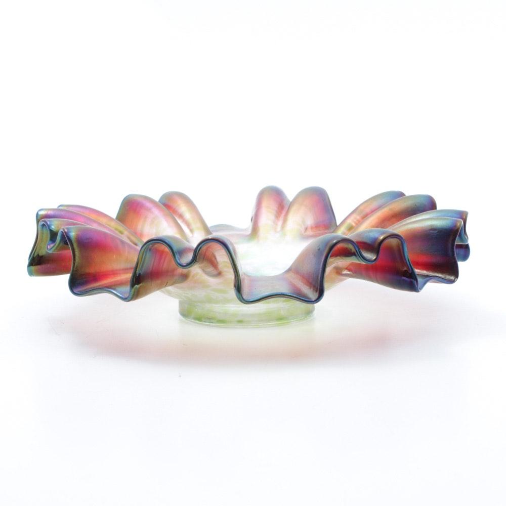 Rindskopf Art Nouveau Crimped Edge Pepita Glass Bowl, Early 20th C.