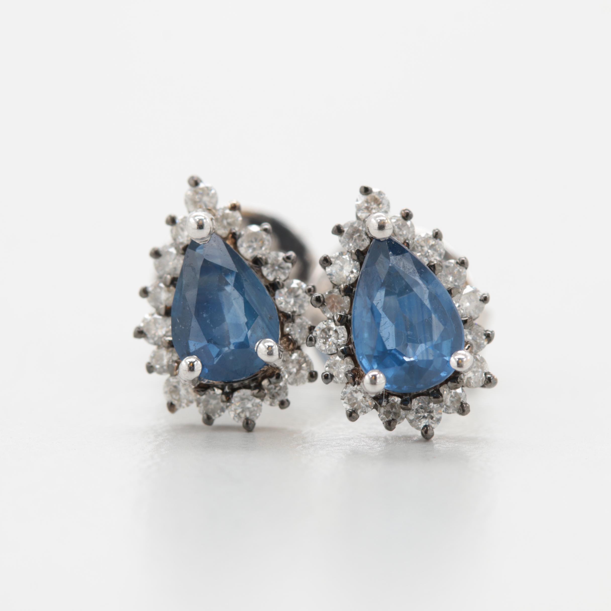 18K White Gold Blue Sapphire and Diamond Earrings