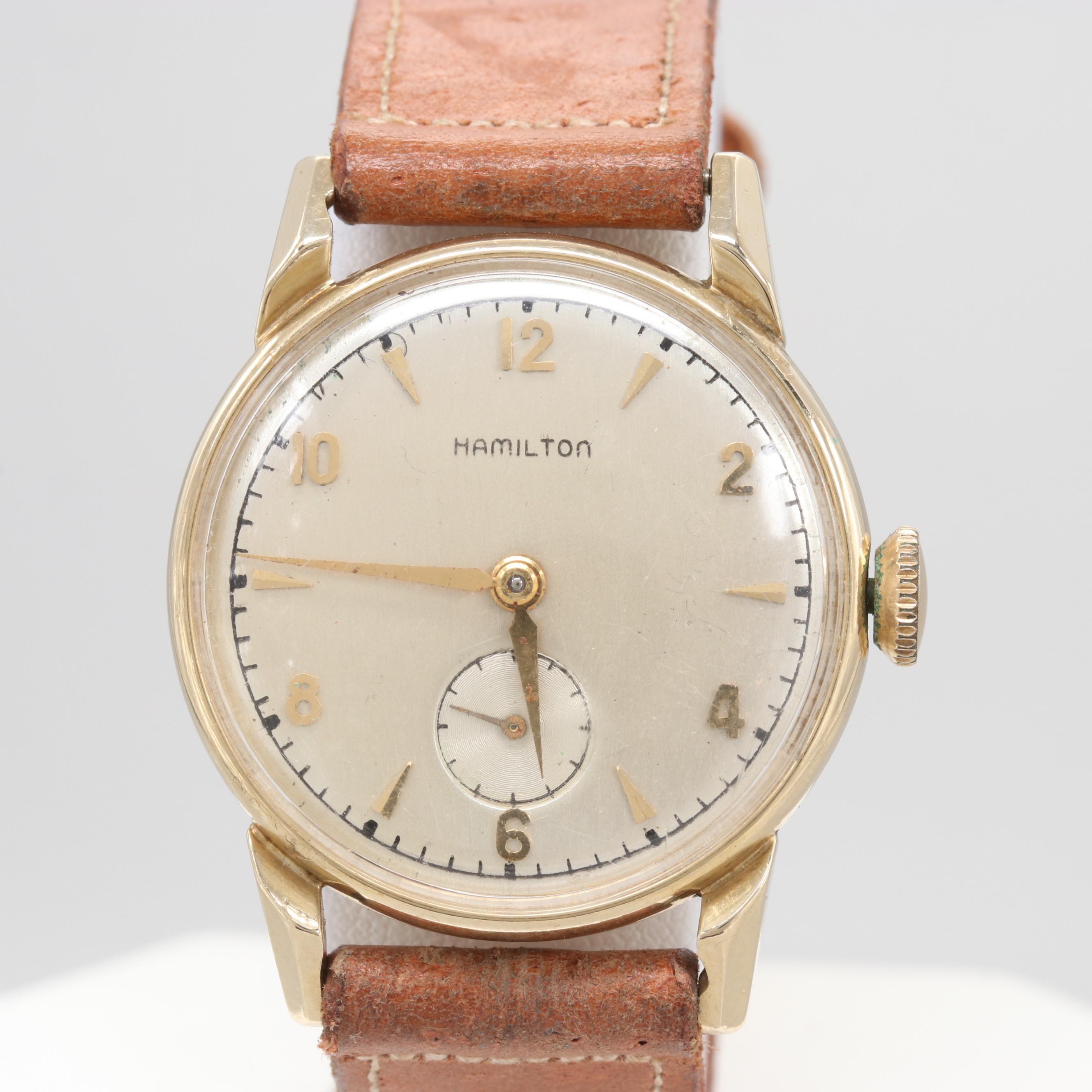 Circa 1949 Hamilton Kirk 14K Yellow Gold Wristwatch