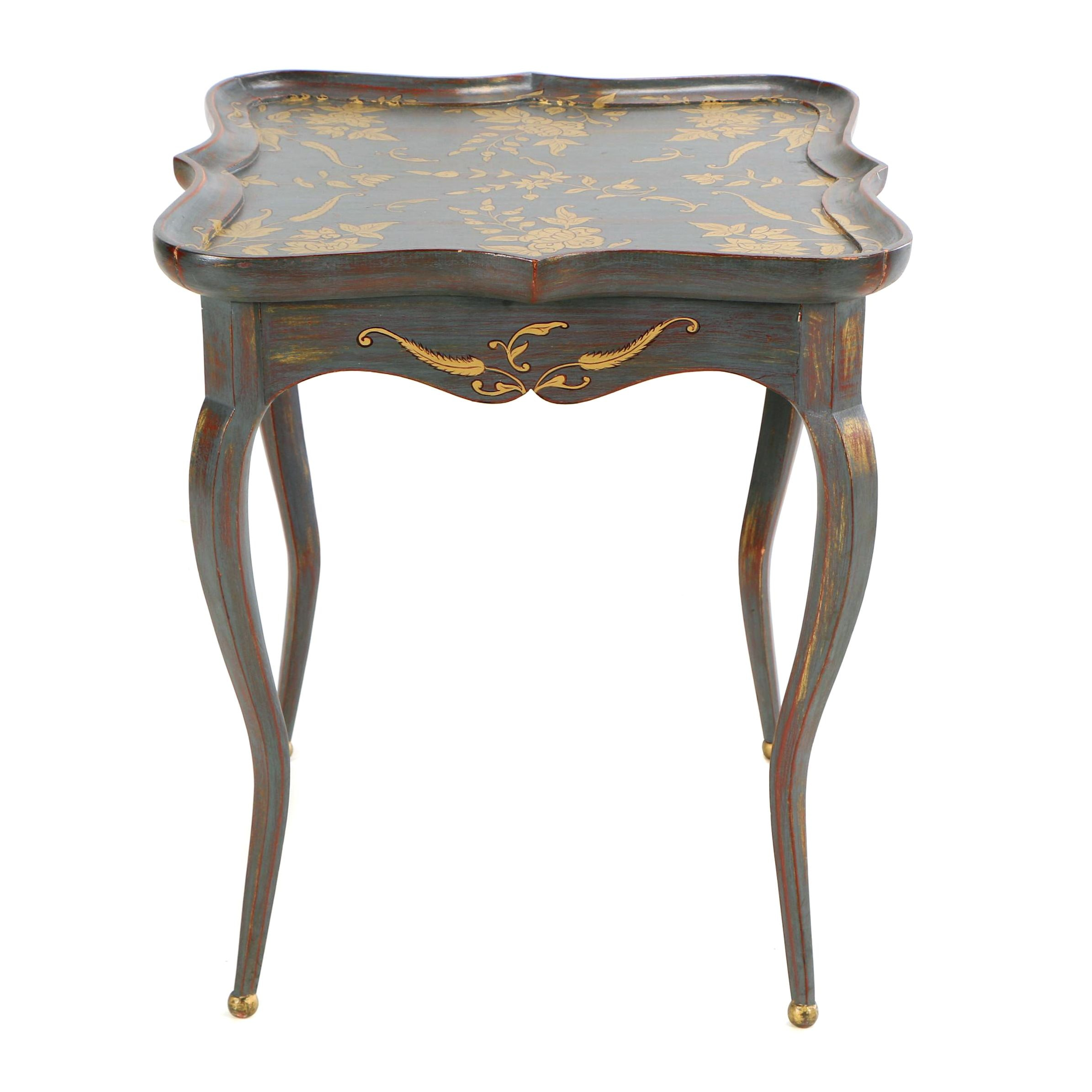 Contemporary Painted Quatrefoil Side Table