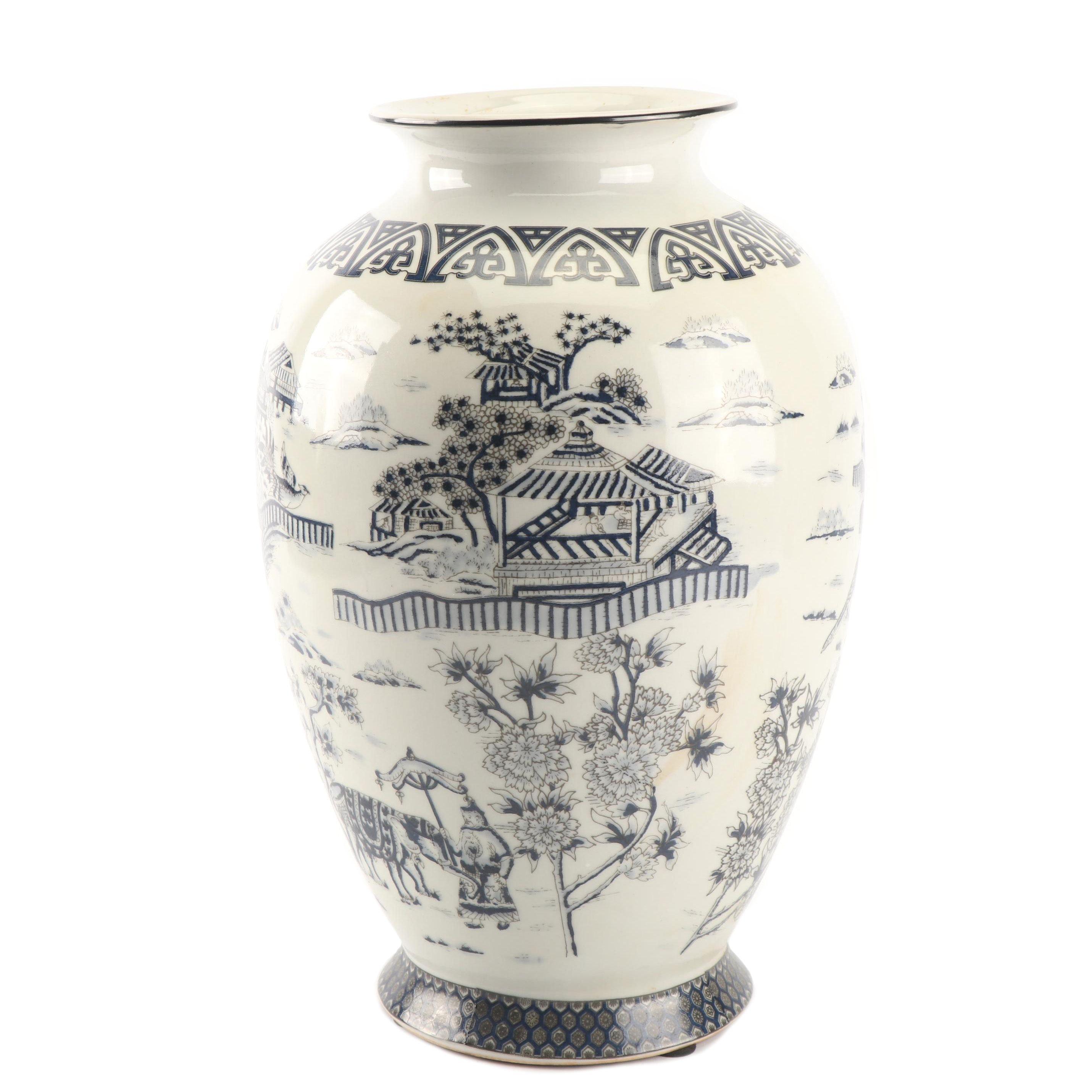 Chinese Inspired Black and White Transferware Vase