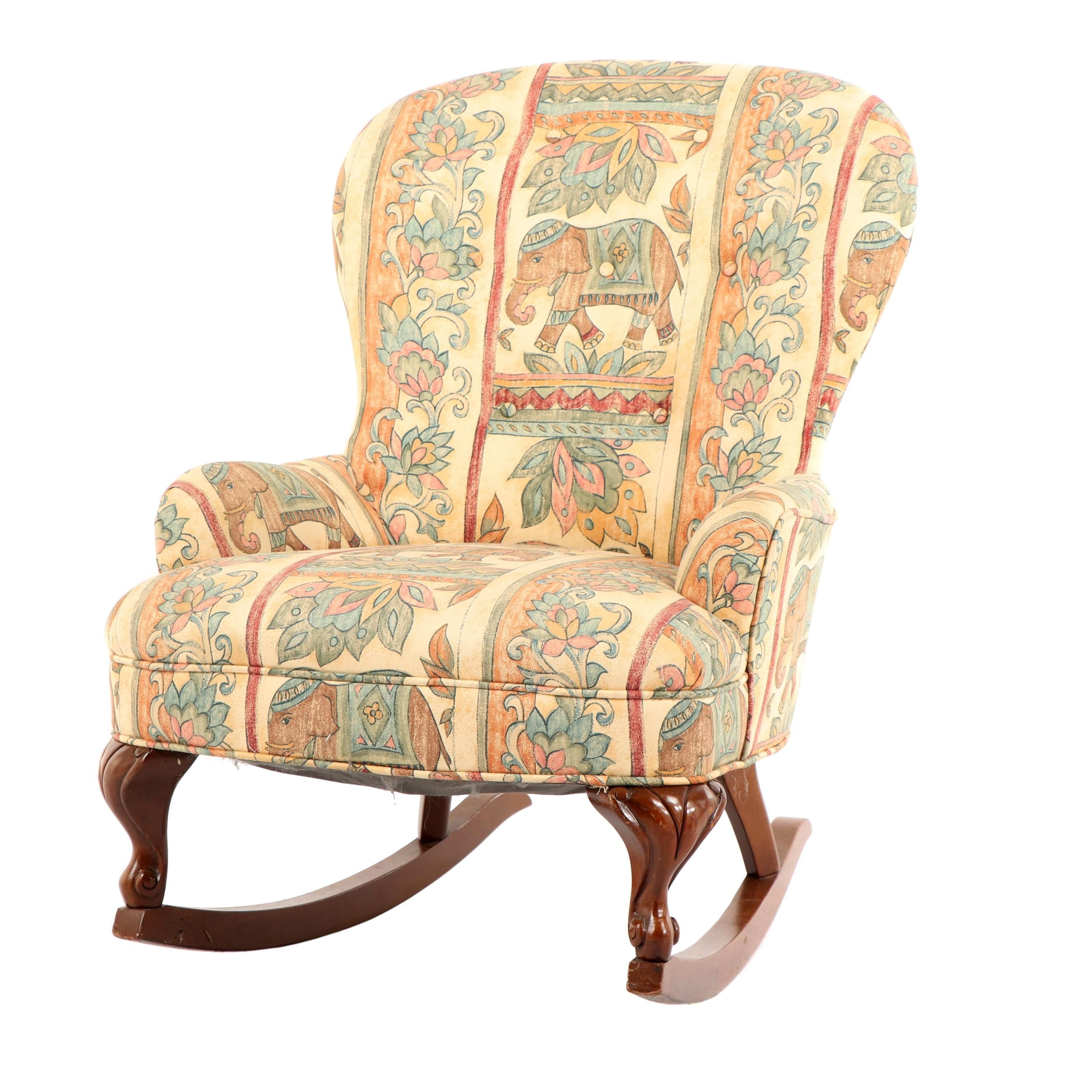 Elephant Upholstered Rocking Armchair, 20th Century