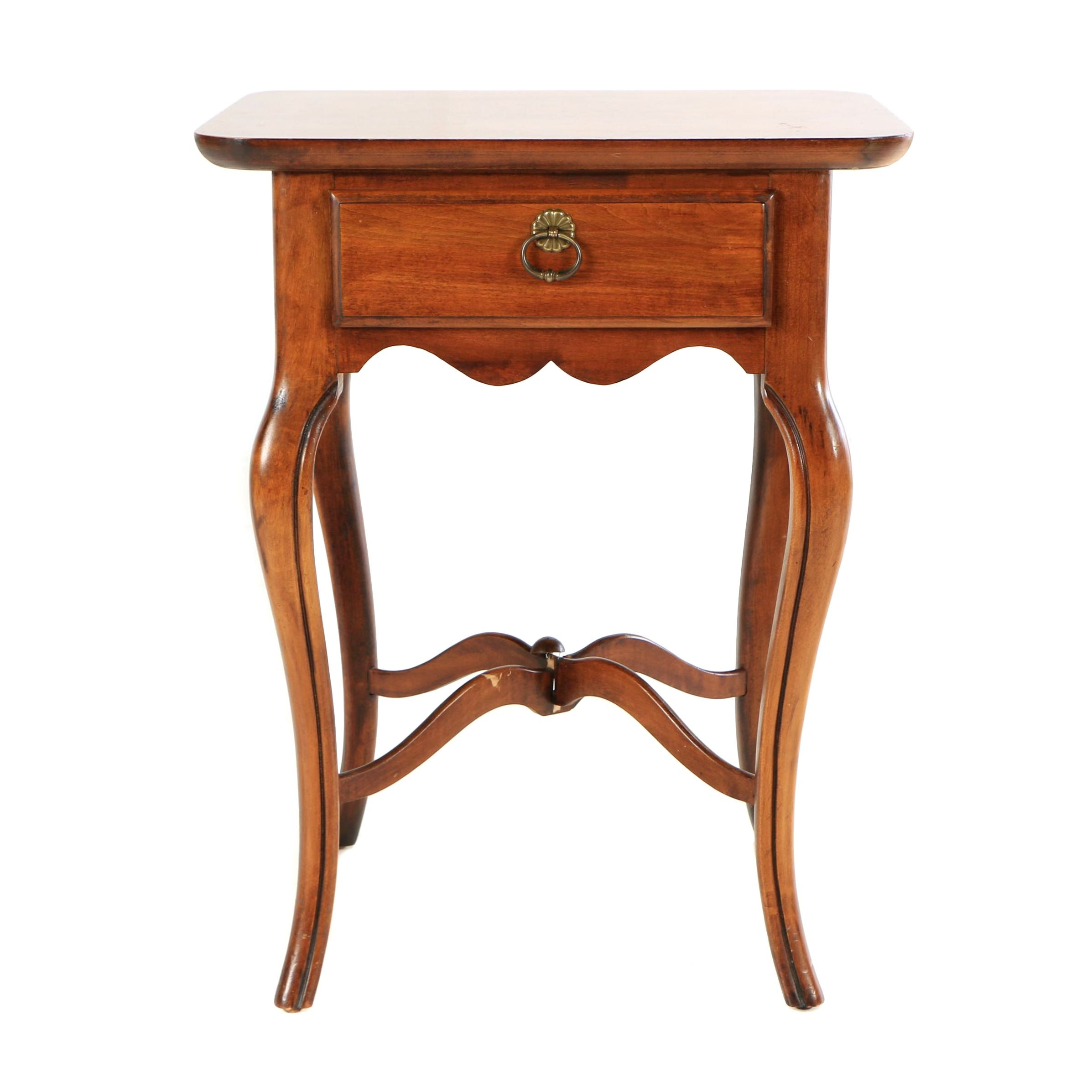 French Provincial Style Cherry Finish End Table, 20th Century