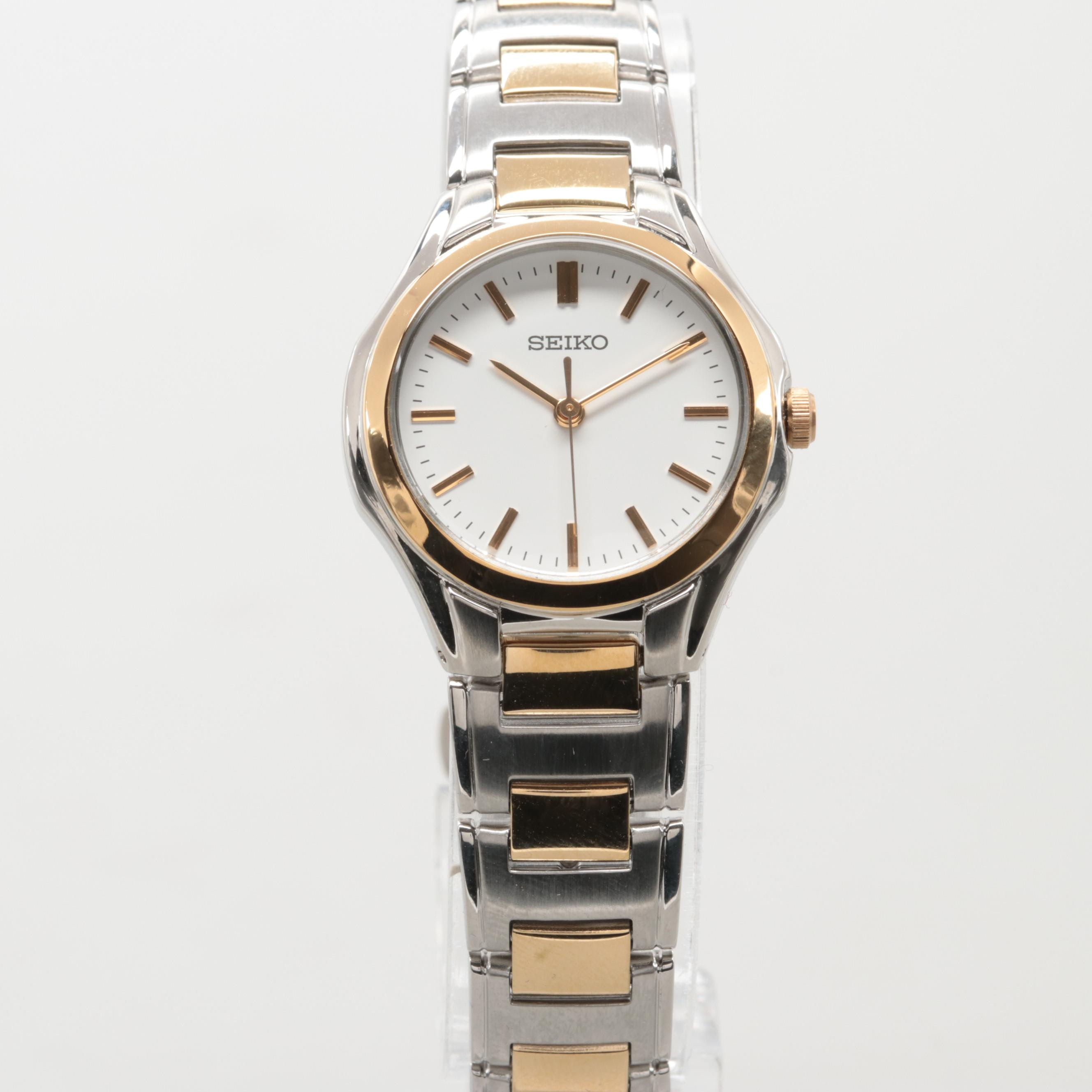Seiko Model SRZ58PI Two-Tone Quartz Wristwatch
