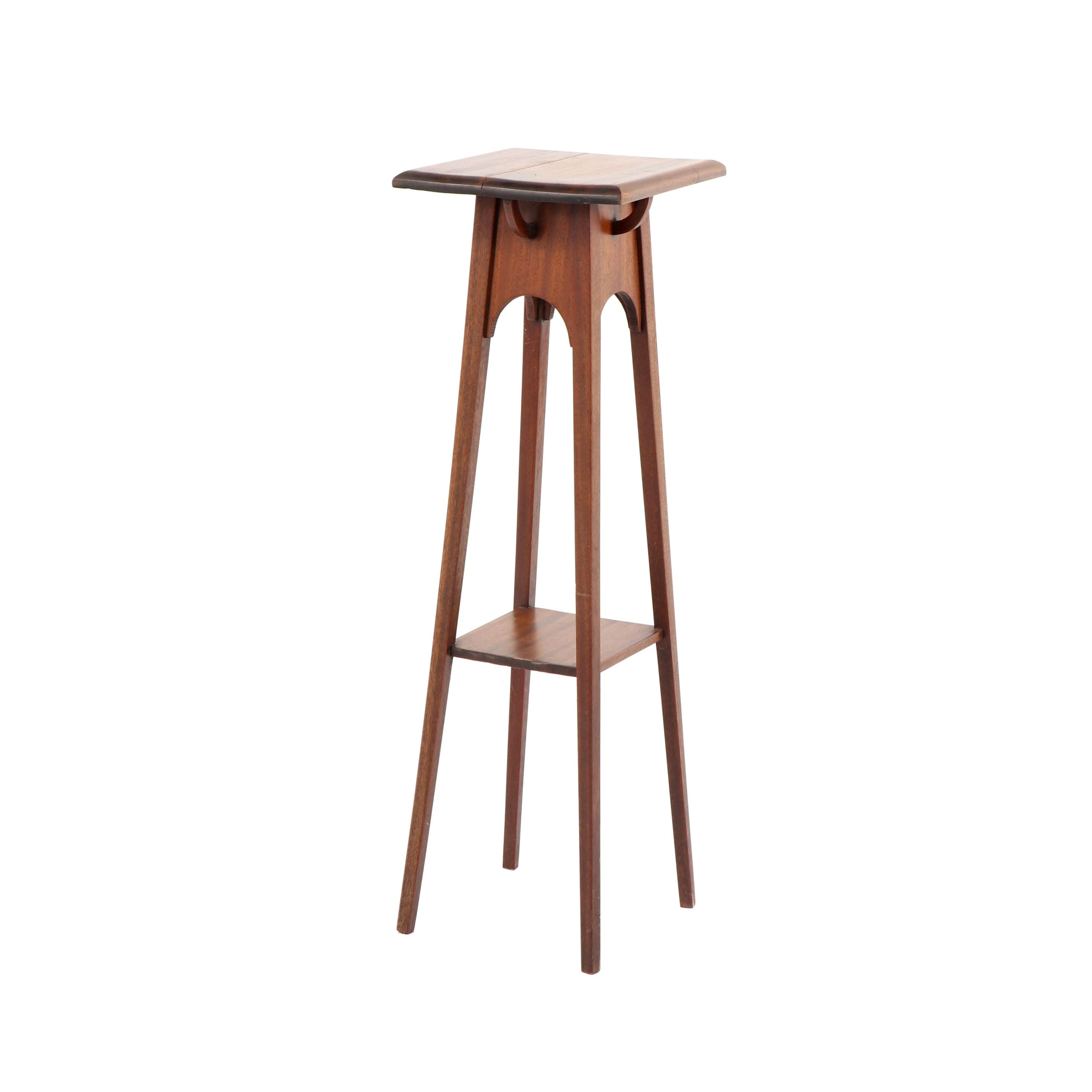 Walnut Plant Stand, Late 20th Century