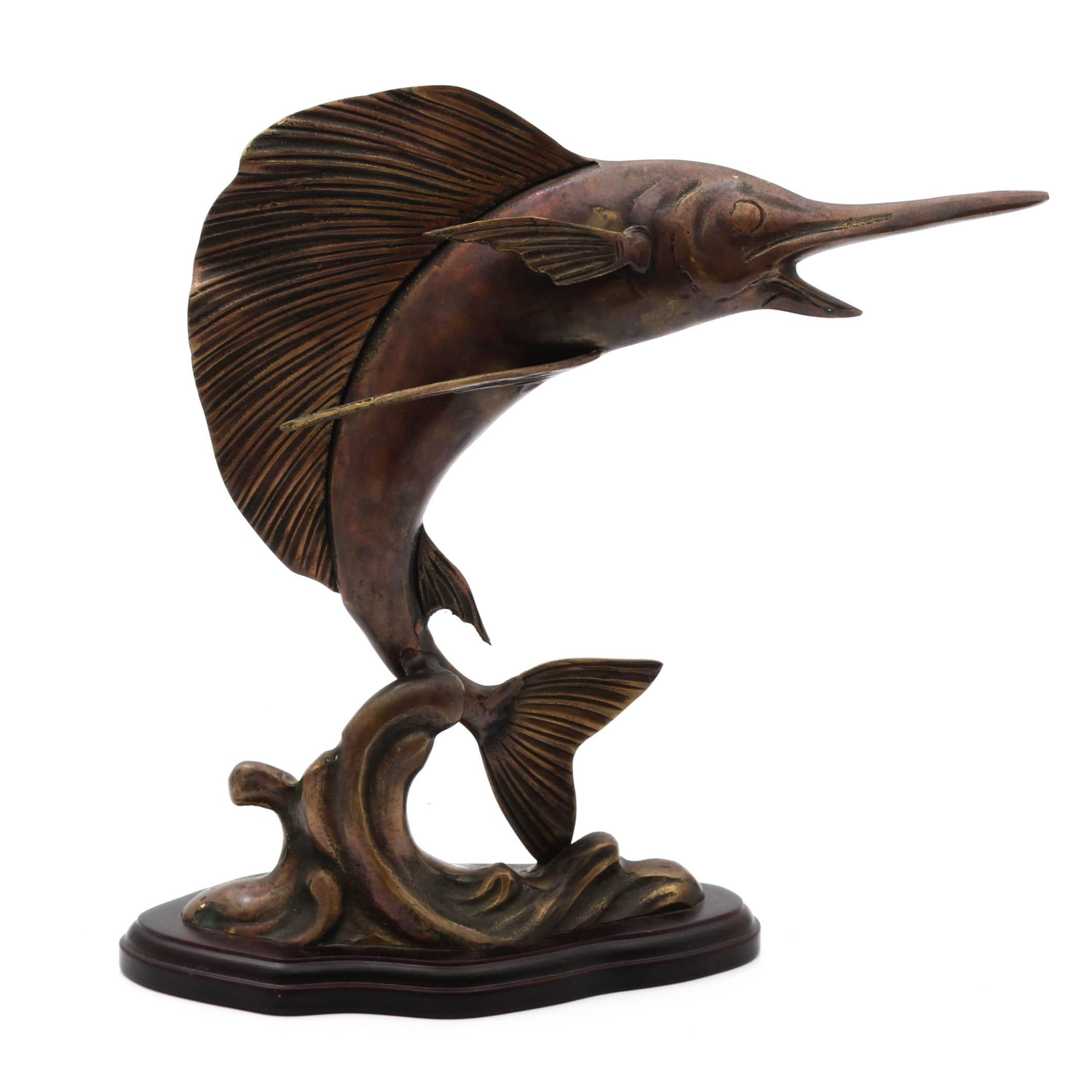 Frank Clark Brass Sailfish Sculpture