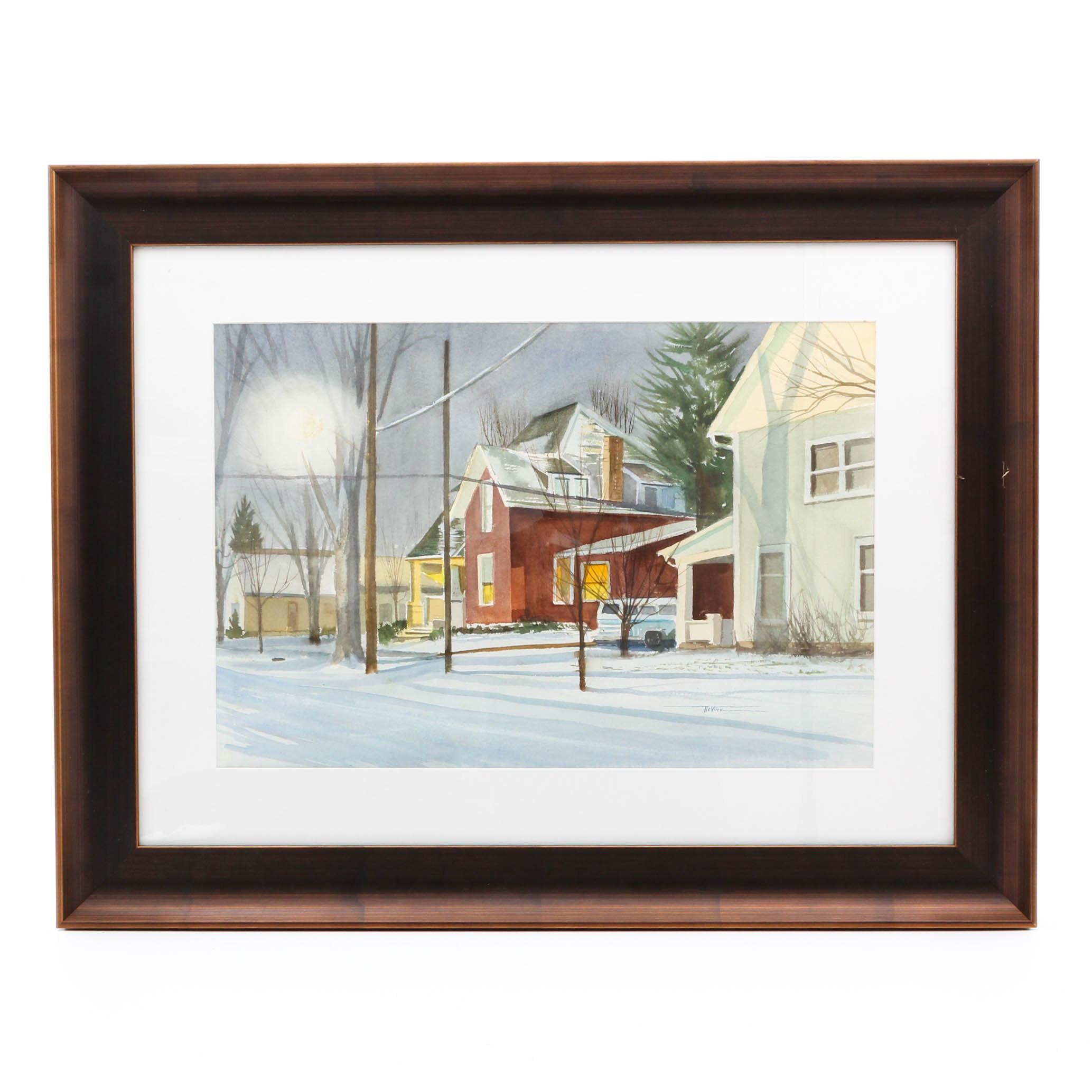 James DeVore Watercolor Winter Scene