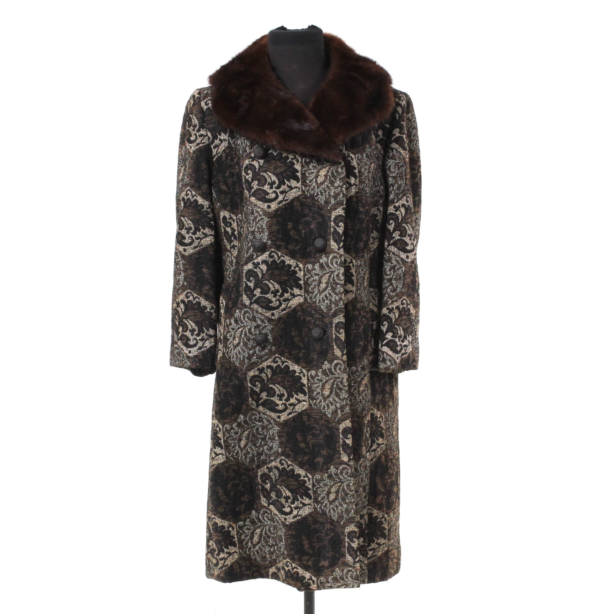 Vintage Tapestry Coat with Mahogany Mink Fur Collar