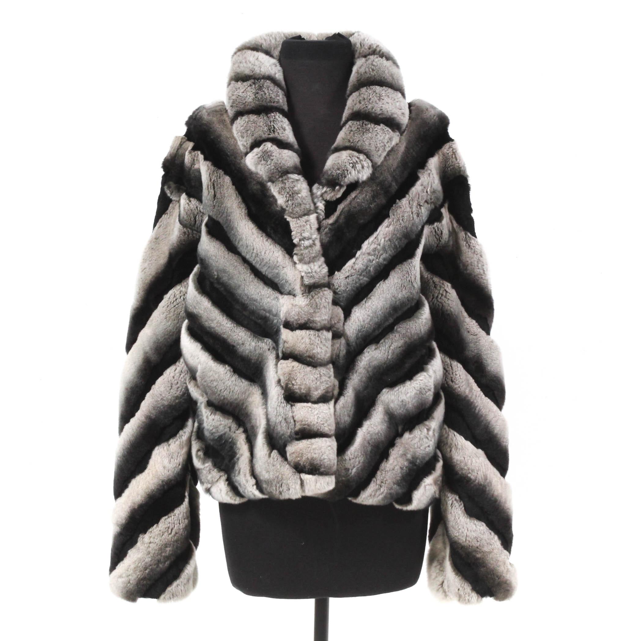 Chinchilla Dyed Rex Fur Rabbit Coat