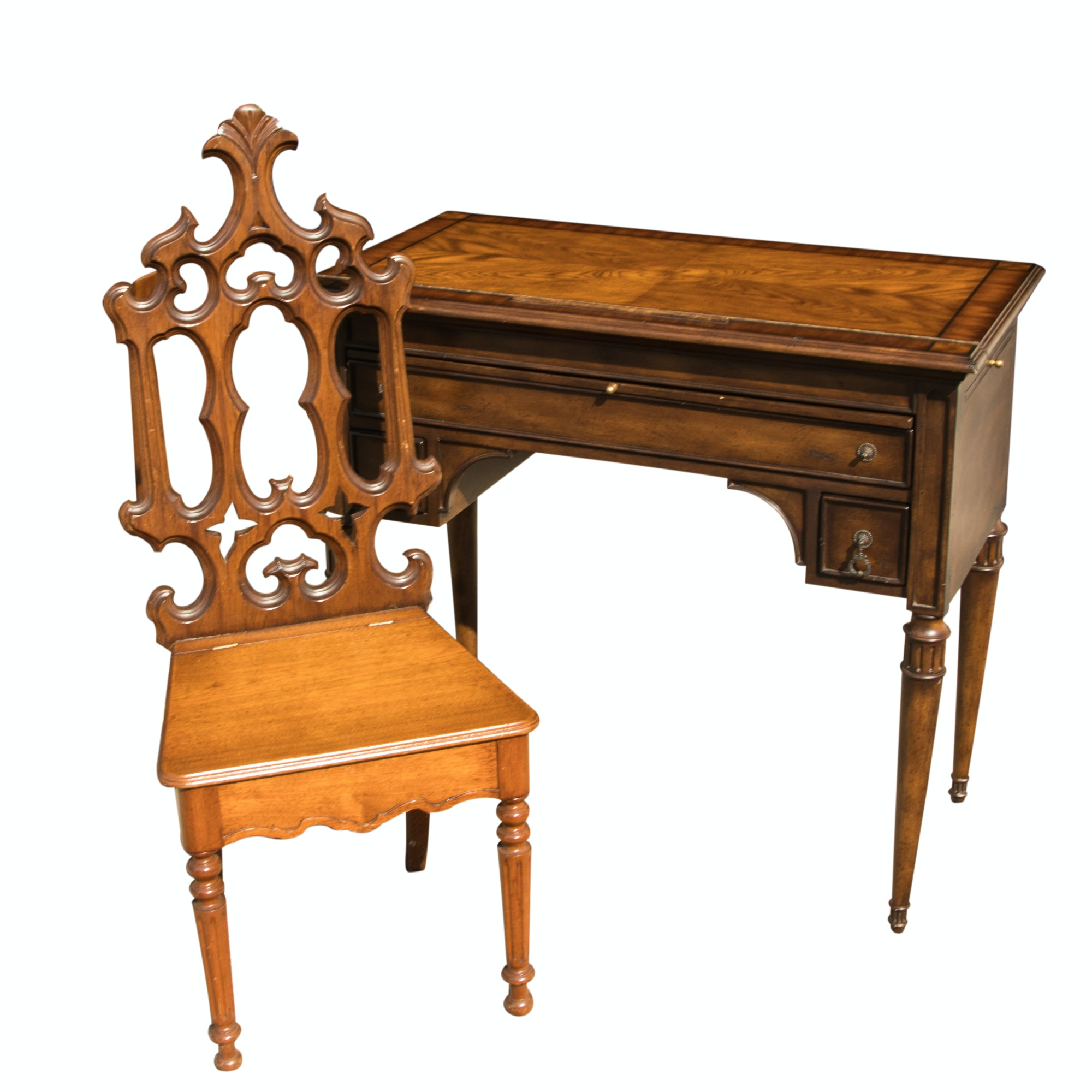 Vintage Neoclassical Style Drawing Desk and Chair
