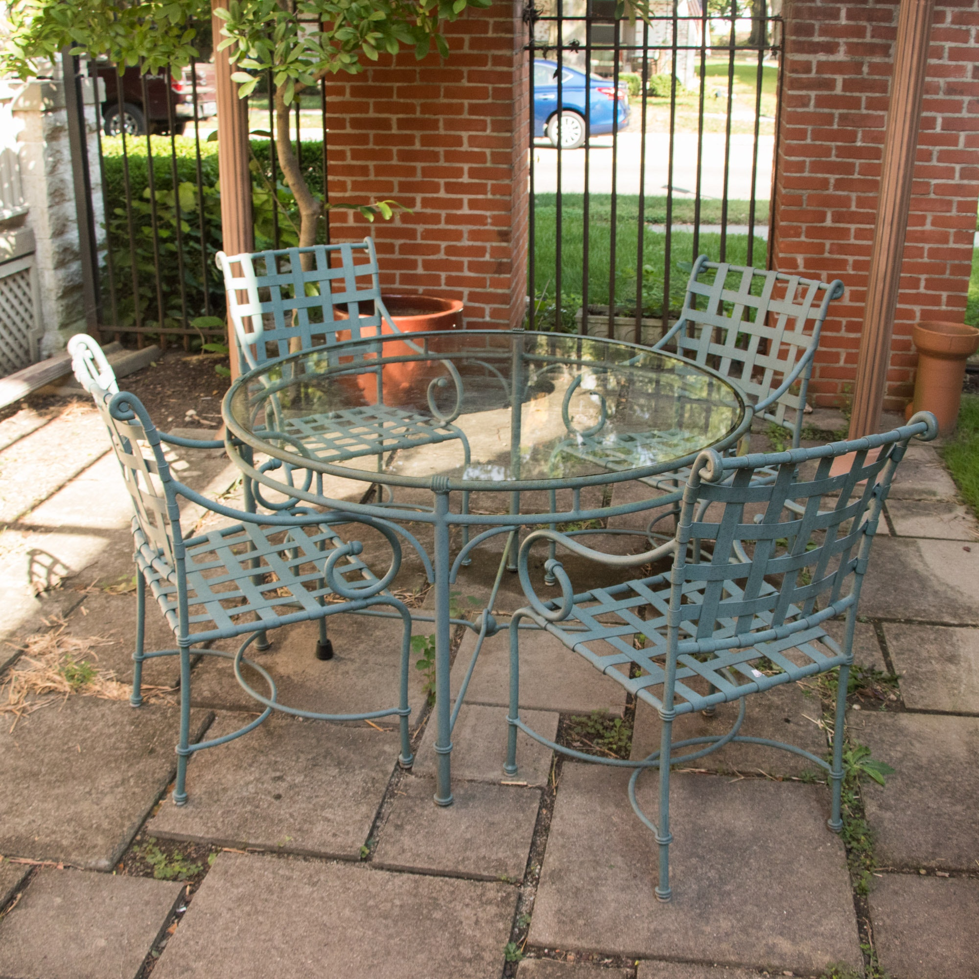 Contemporary Patio Table and Four Armchairs