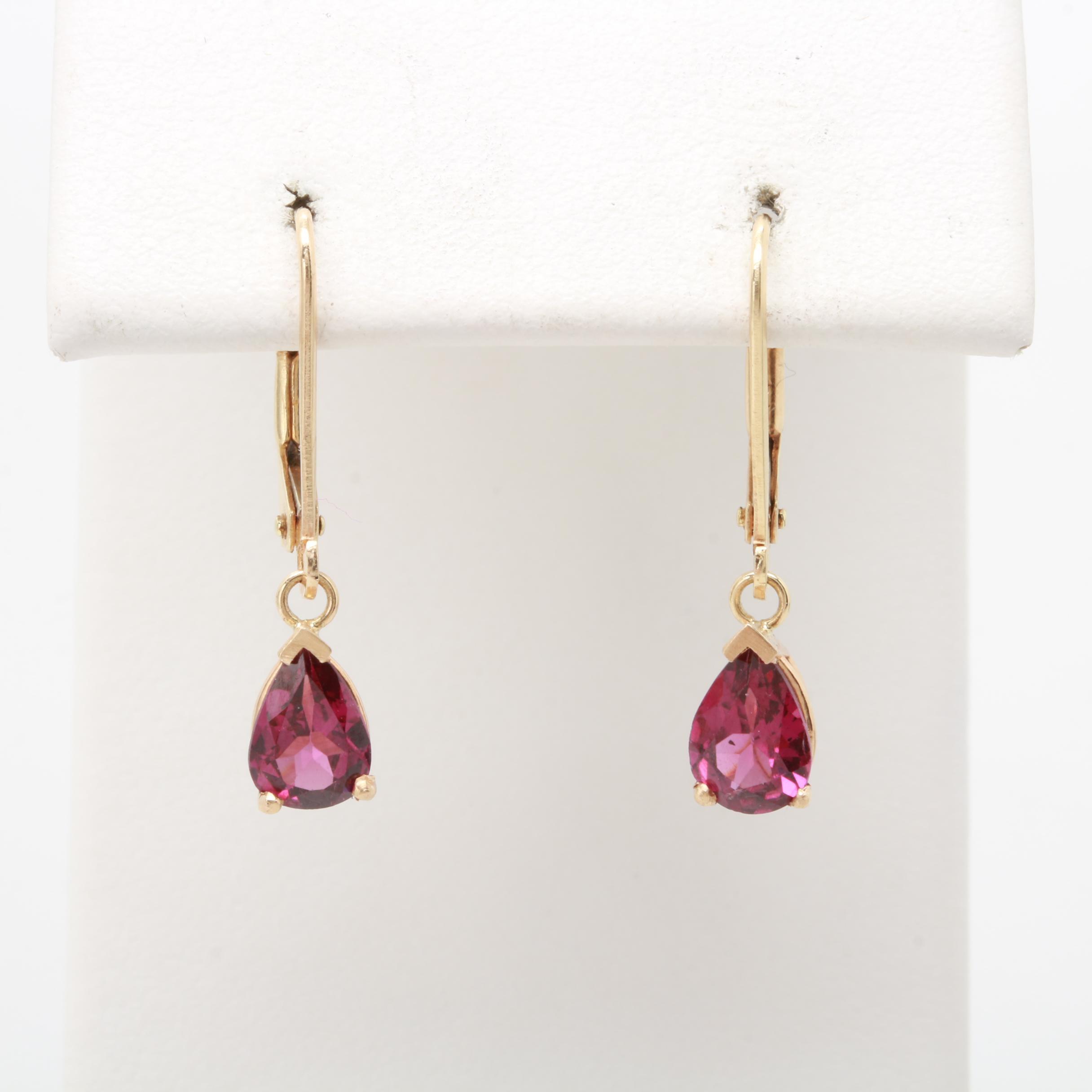 14K Yellow Gold Rhodolite Garnet Dangle Earrings