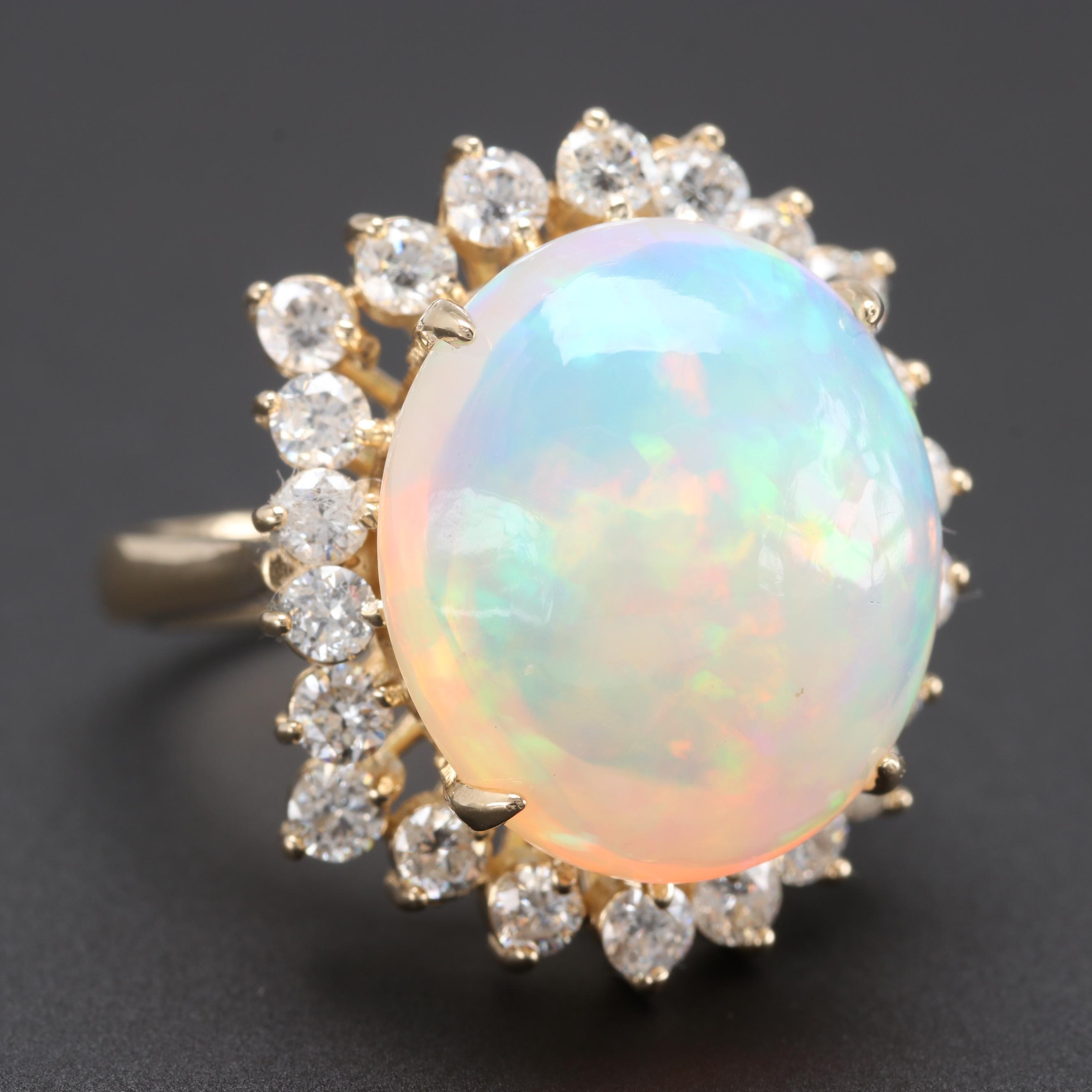 14K Yellow Gold Opal and 1.32 CTW Diamond Ring
