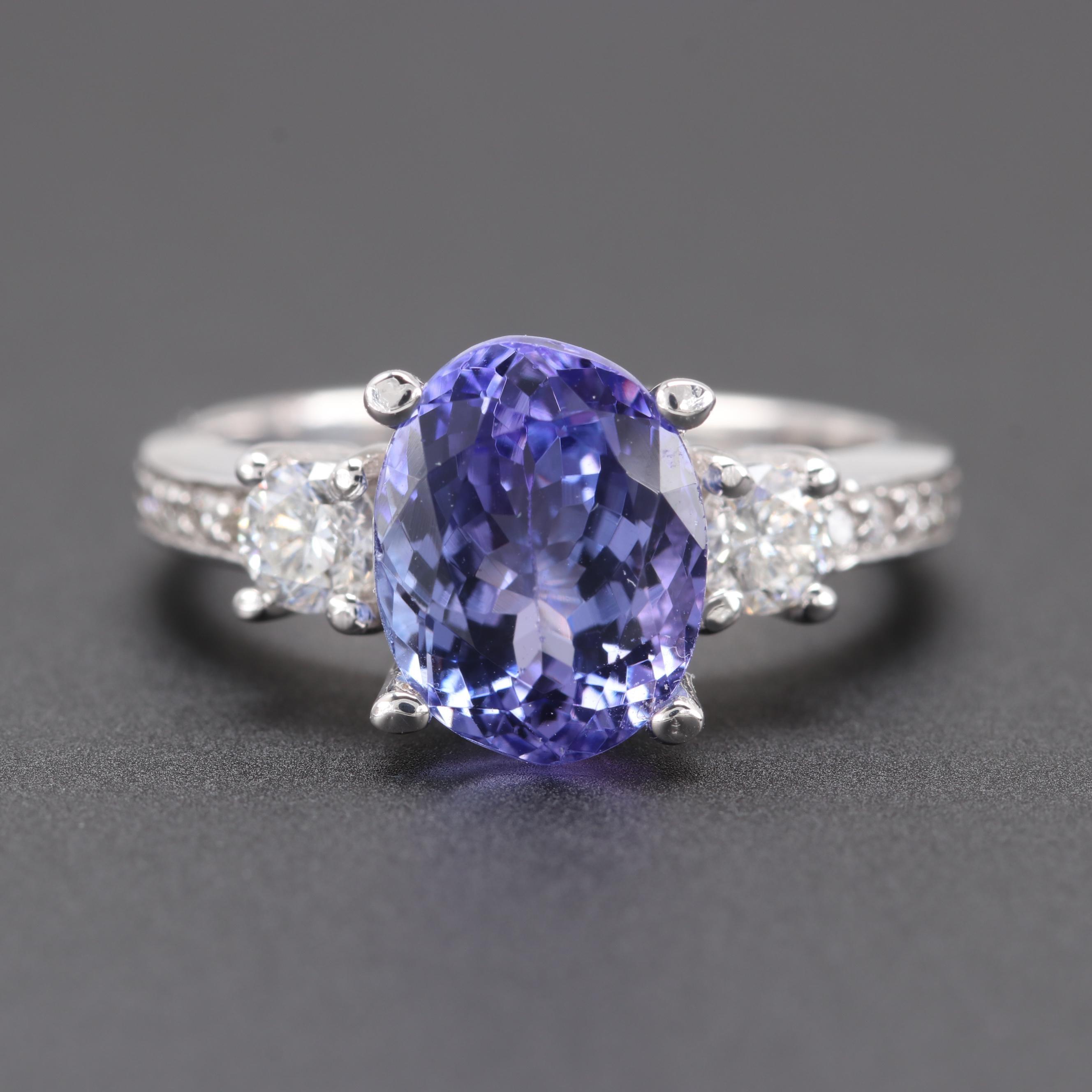14K White Gold 3.02 CT Tanzanite and Diamond Ring