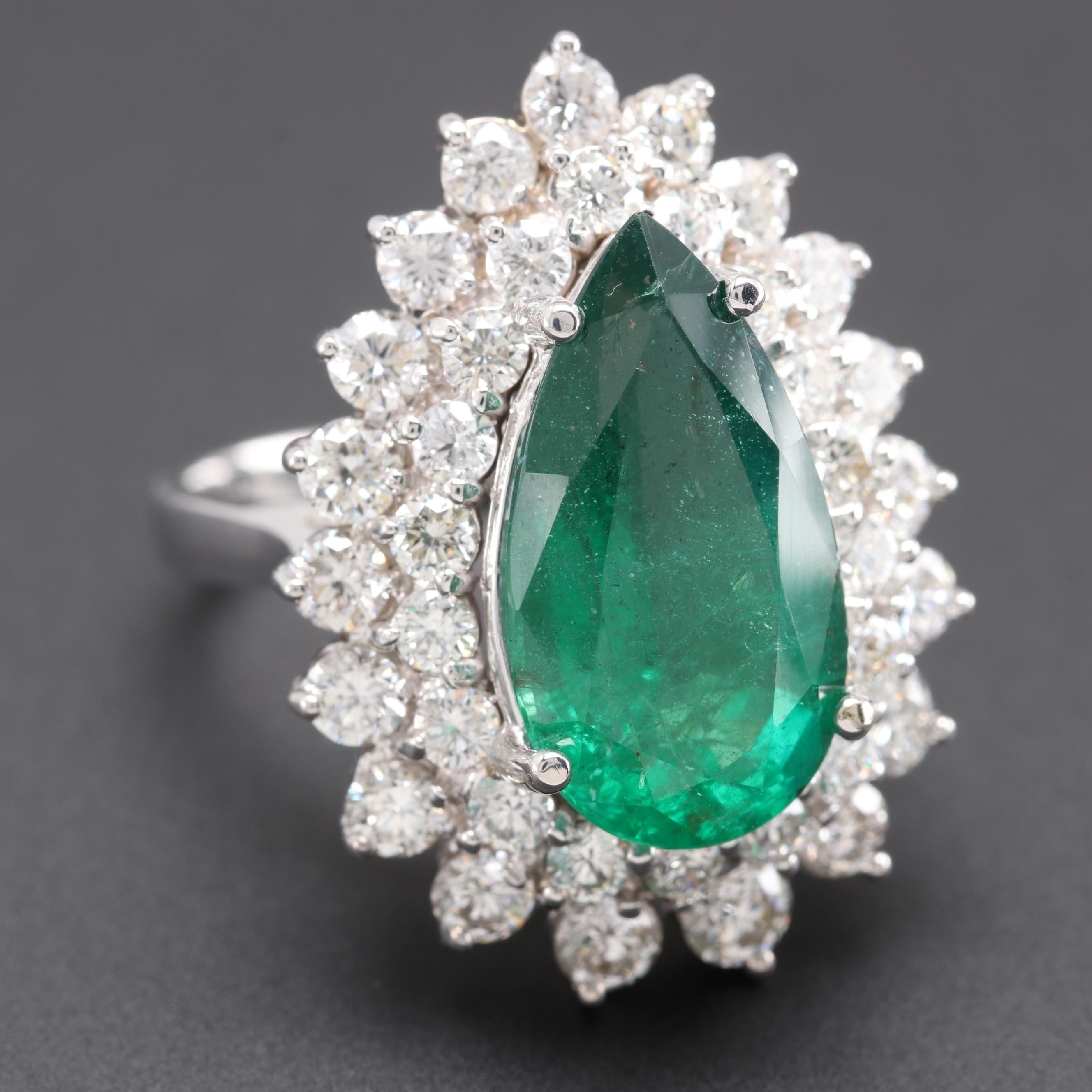 18K White Gold 4.97 CT Emerald and 2.14 CTW Diamond Ring