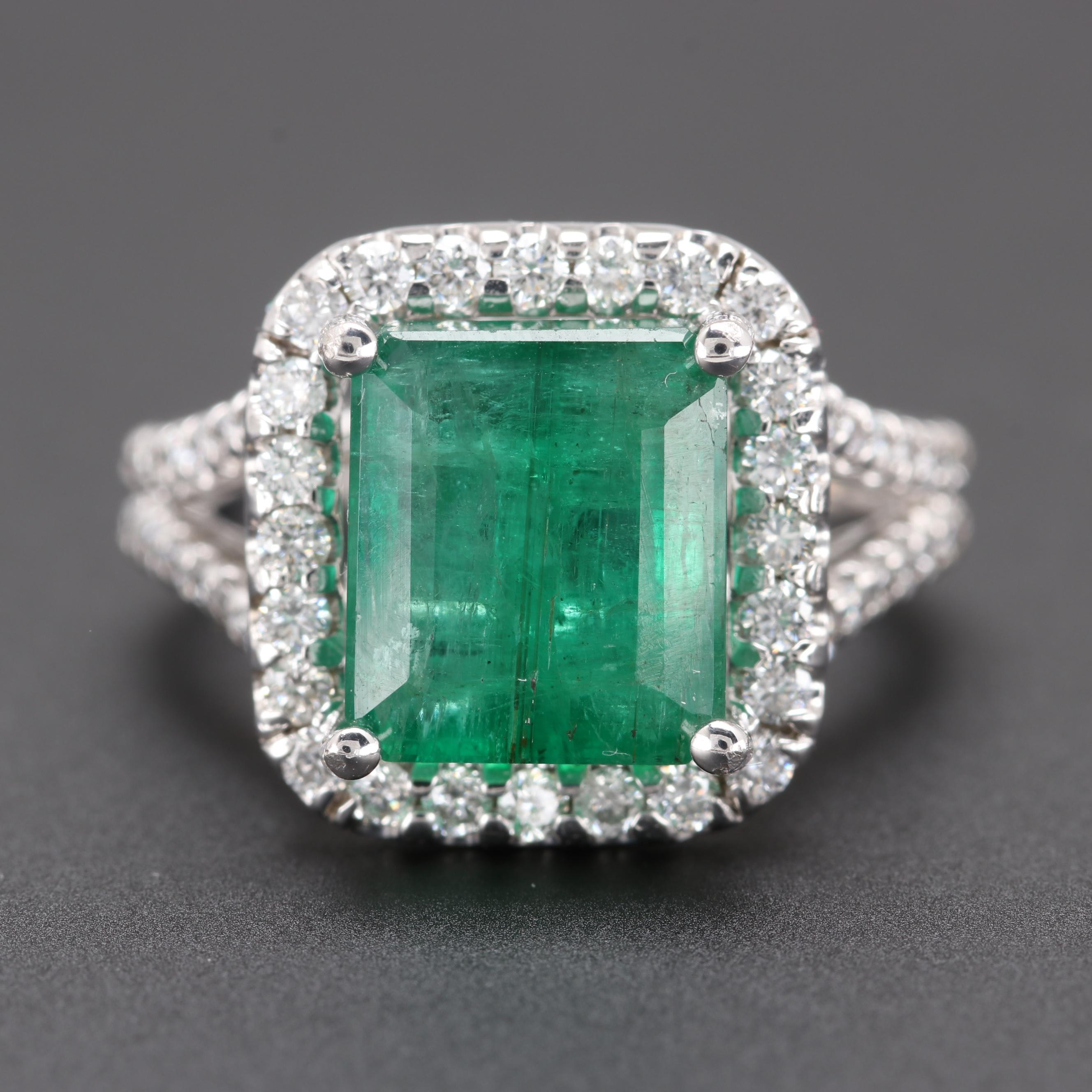14K White Gold 3.20 CT Emerald and Diamond Ring