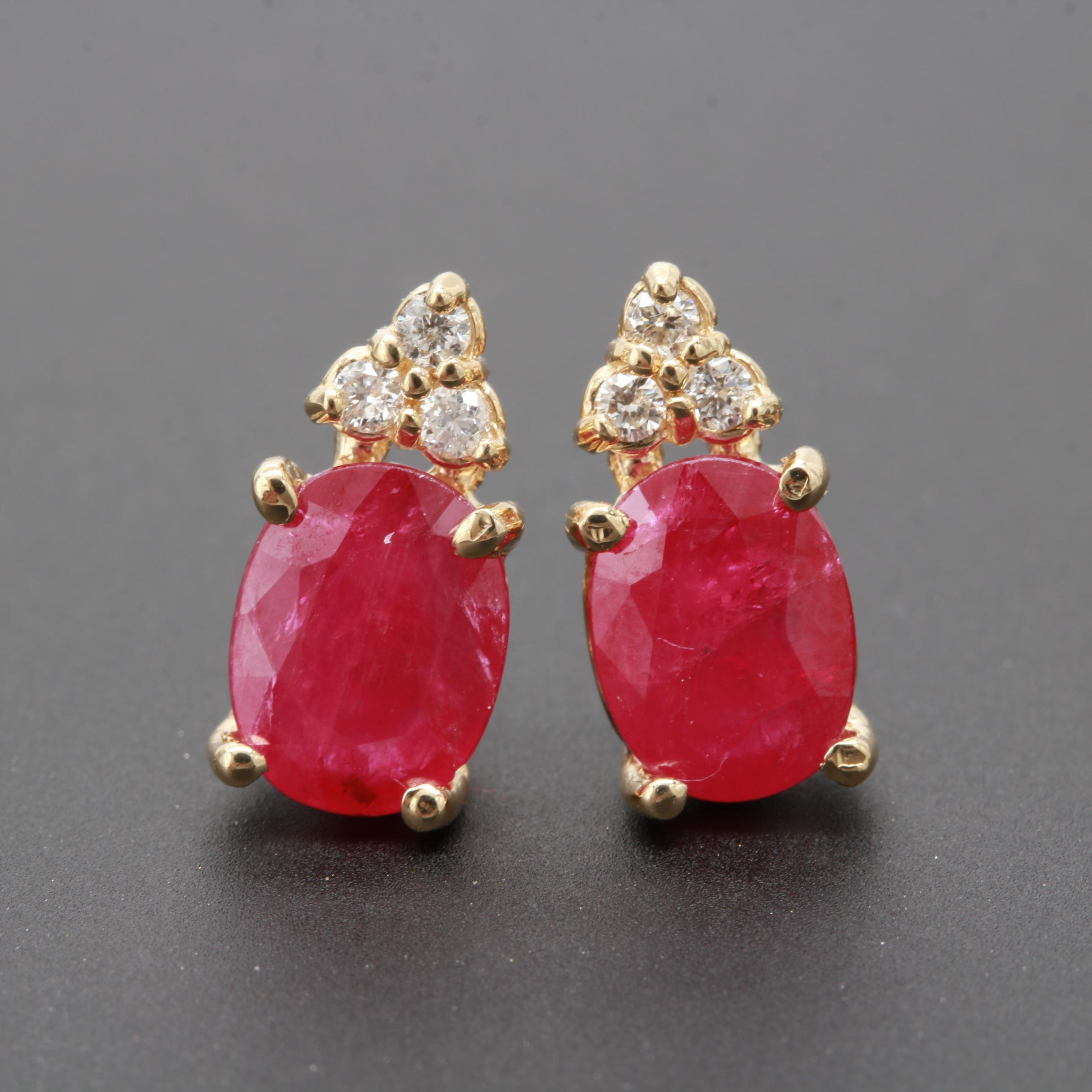 14K Yellow Gold 3.00 CTW Ruby and Diamond Earrings