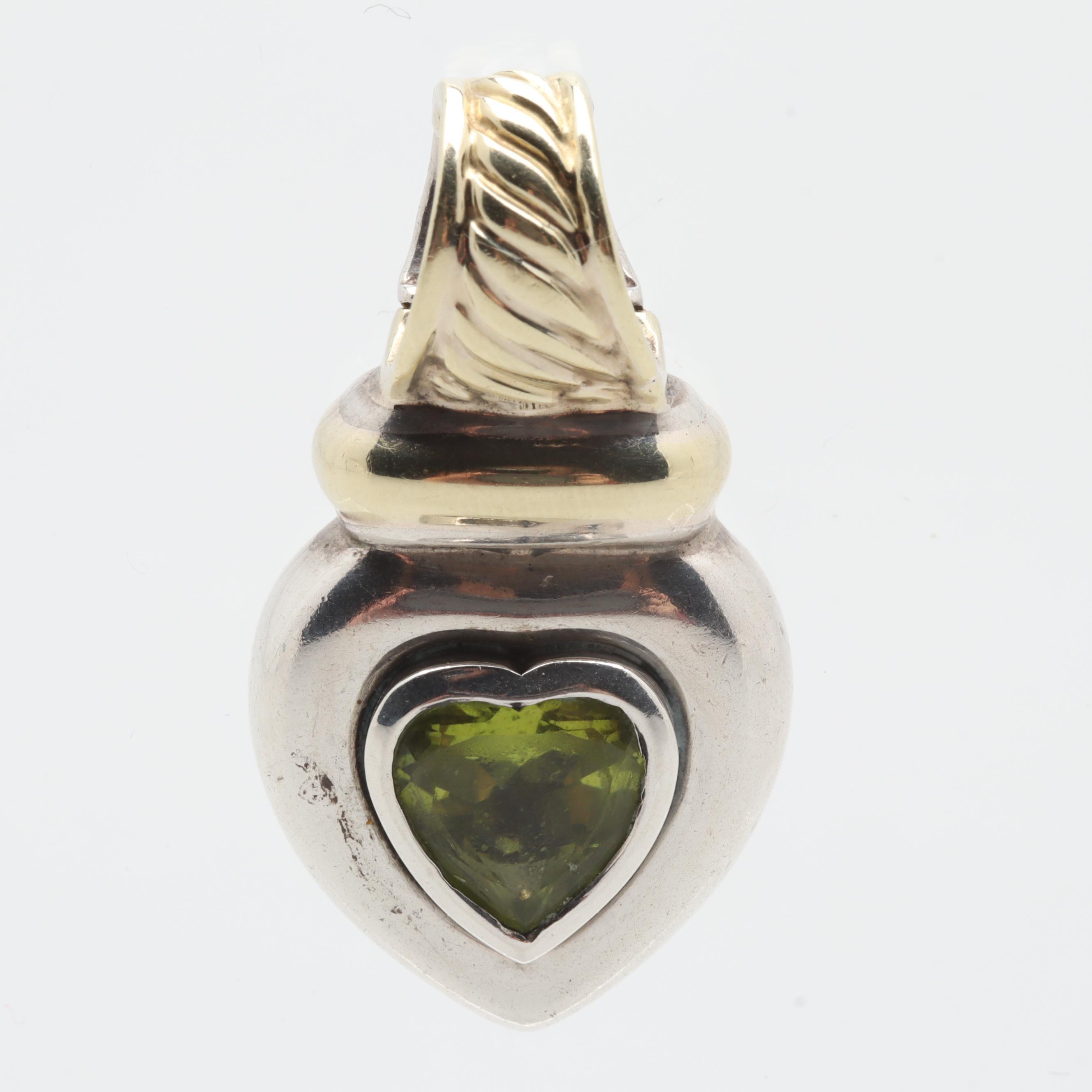 David Yurman Sterling Silver Peridot Heart Pendant with 14K Yellow Gold Accents