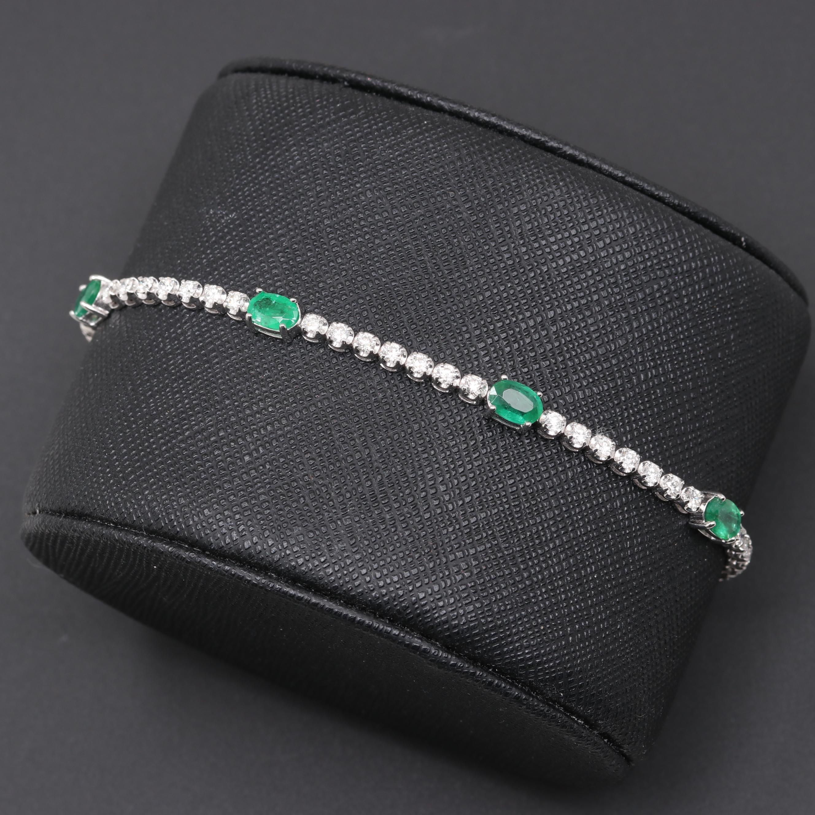 18K White Gold Emerald and 1.65 CTW Diamond Bracelet