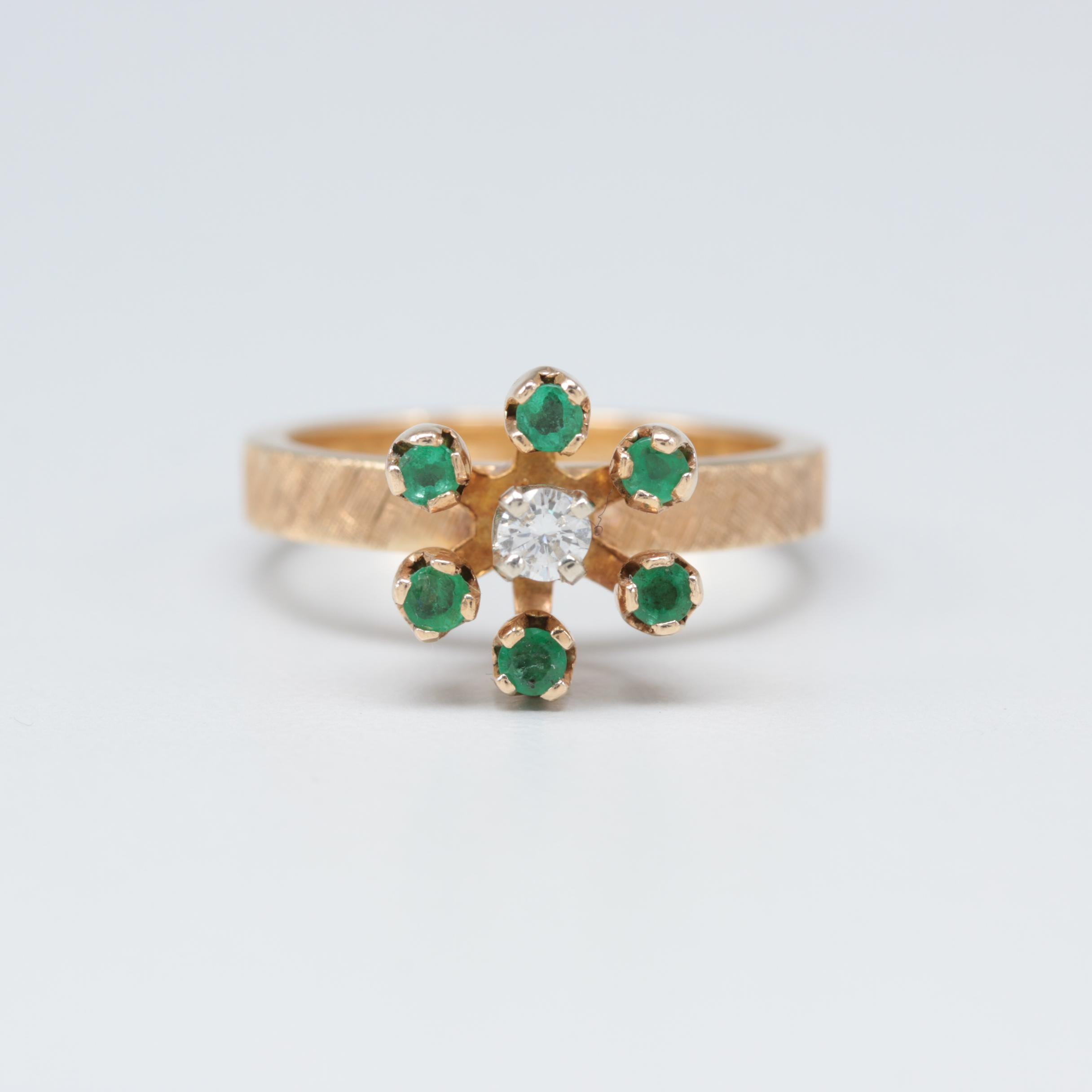 14K Yellow Gold Diamond and Emerald Floral Motif Ring