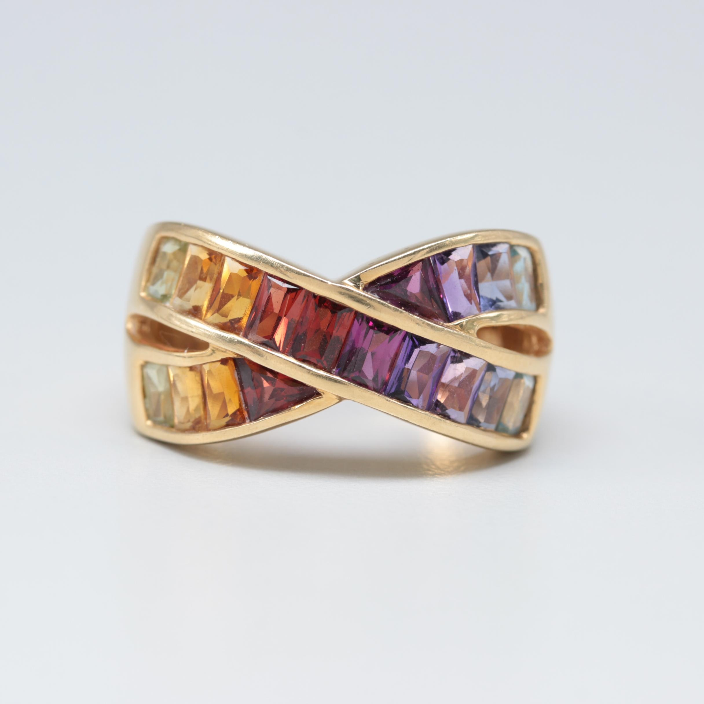 18K Yellow Gold Crisscross Ring with Amethyst and Garnet