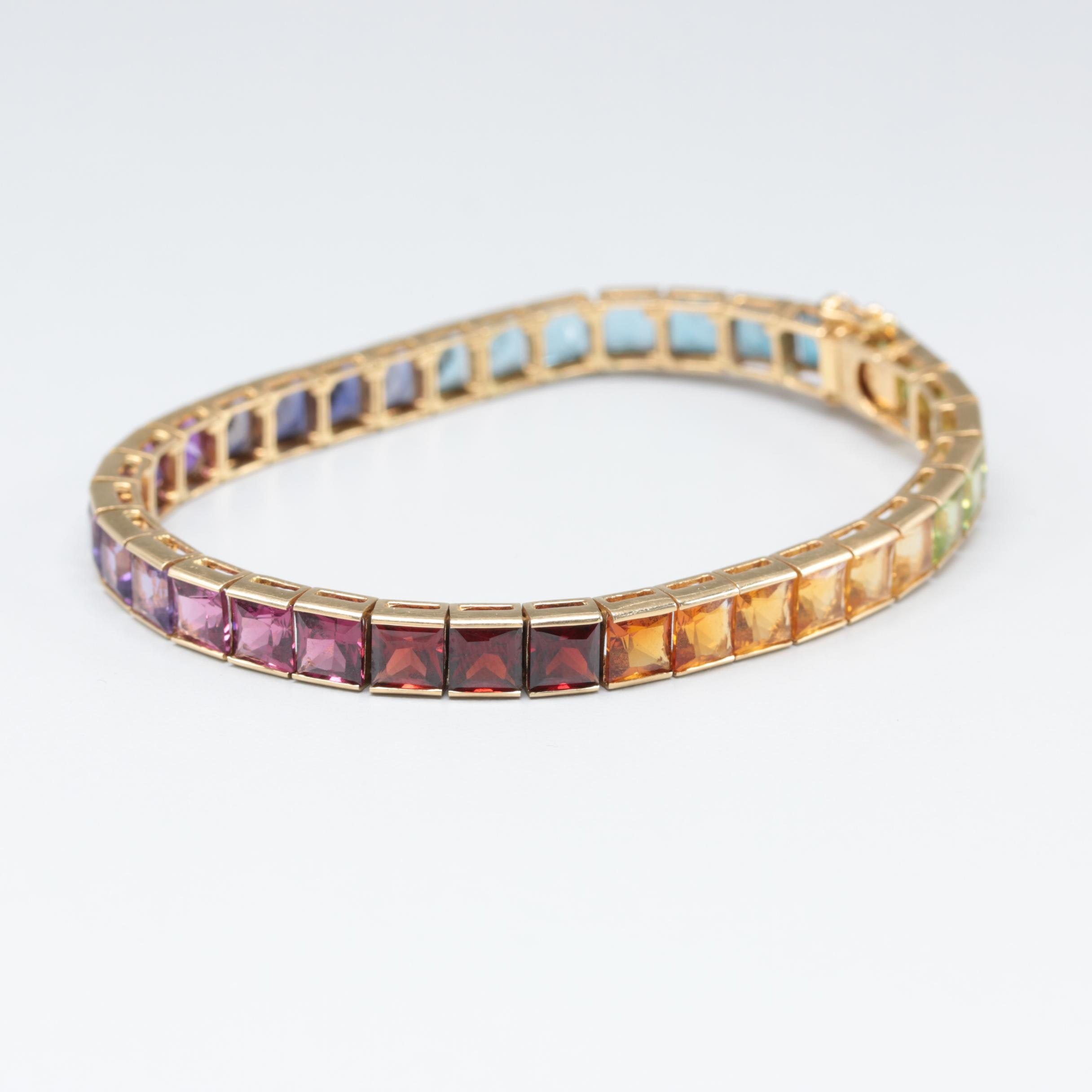 18K Yellow Gold Line Bracelet with Amethyst, Citrine, and Peridot