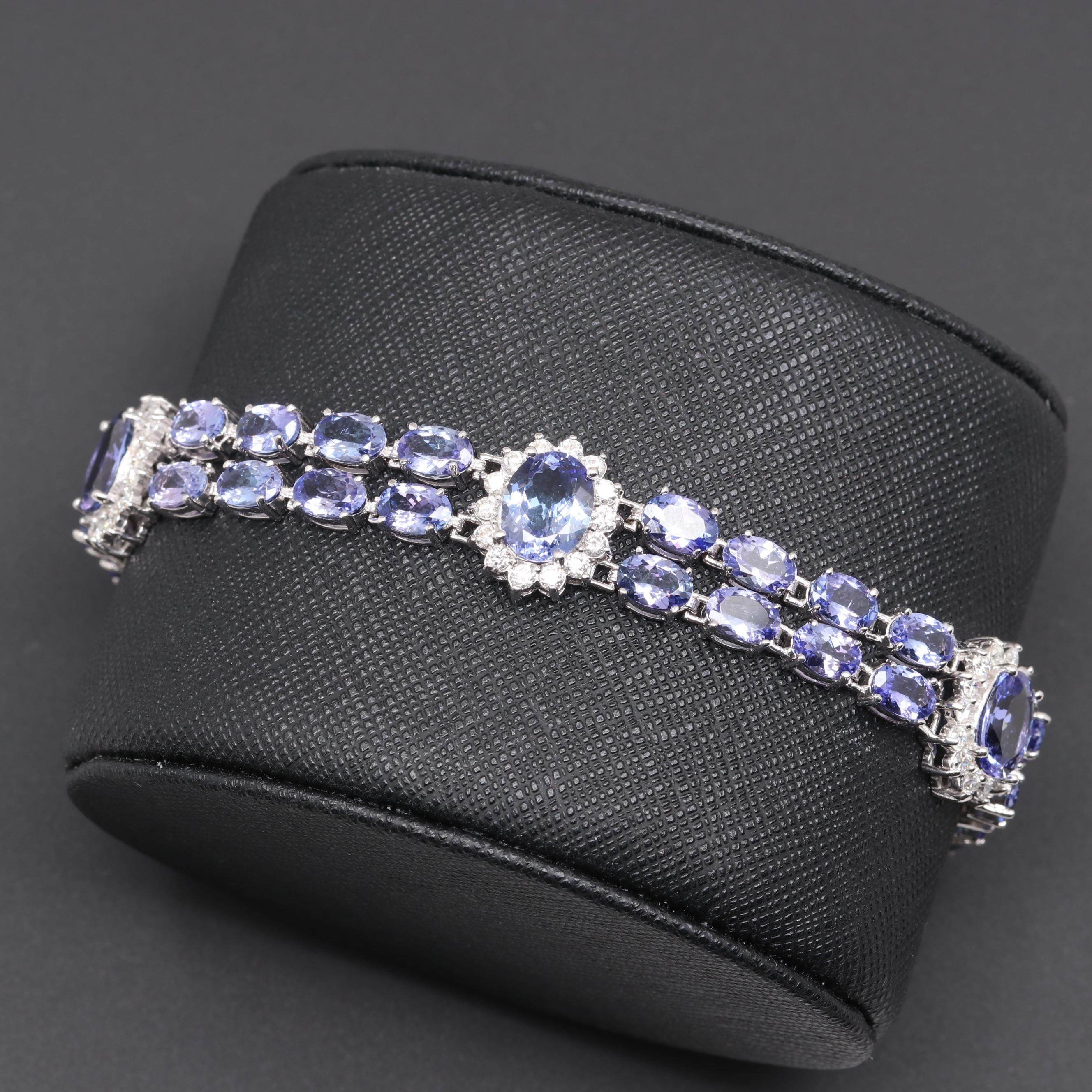 14K White Gold Tanzanite and 1.47 CTW Diamond Bracelet