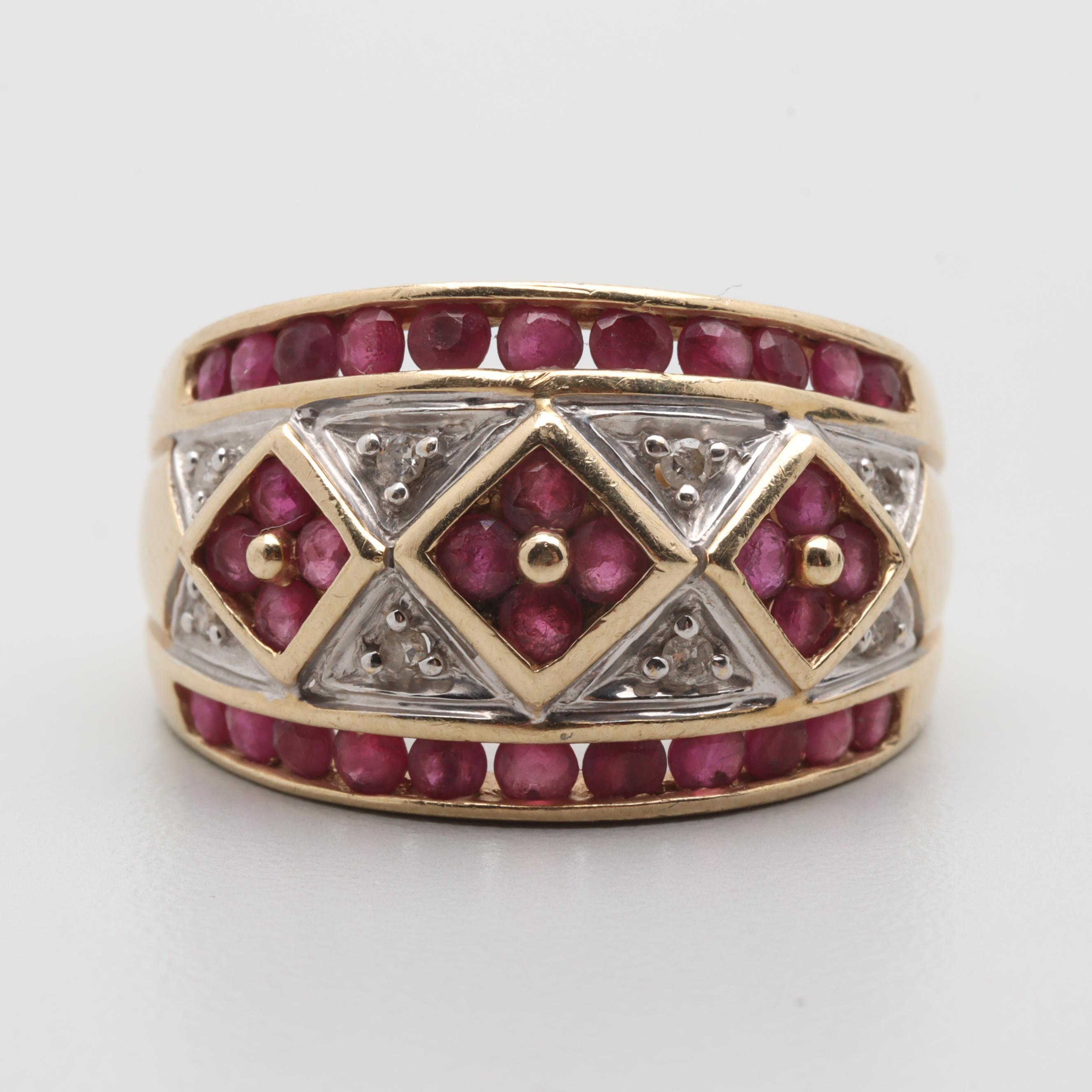 Alwand Vahan 14K Yellow Gold Ruby and Diamond Ring