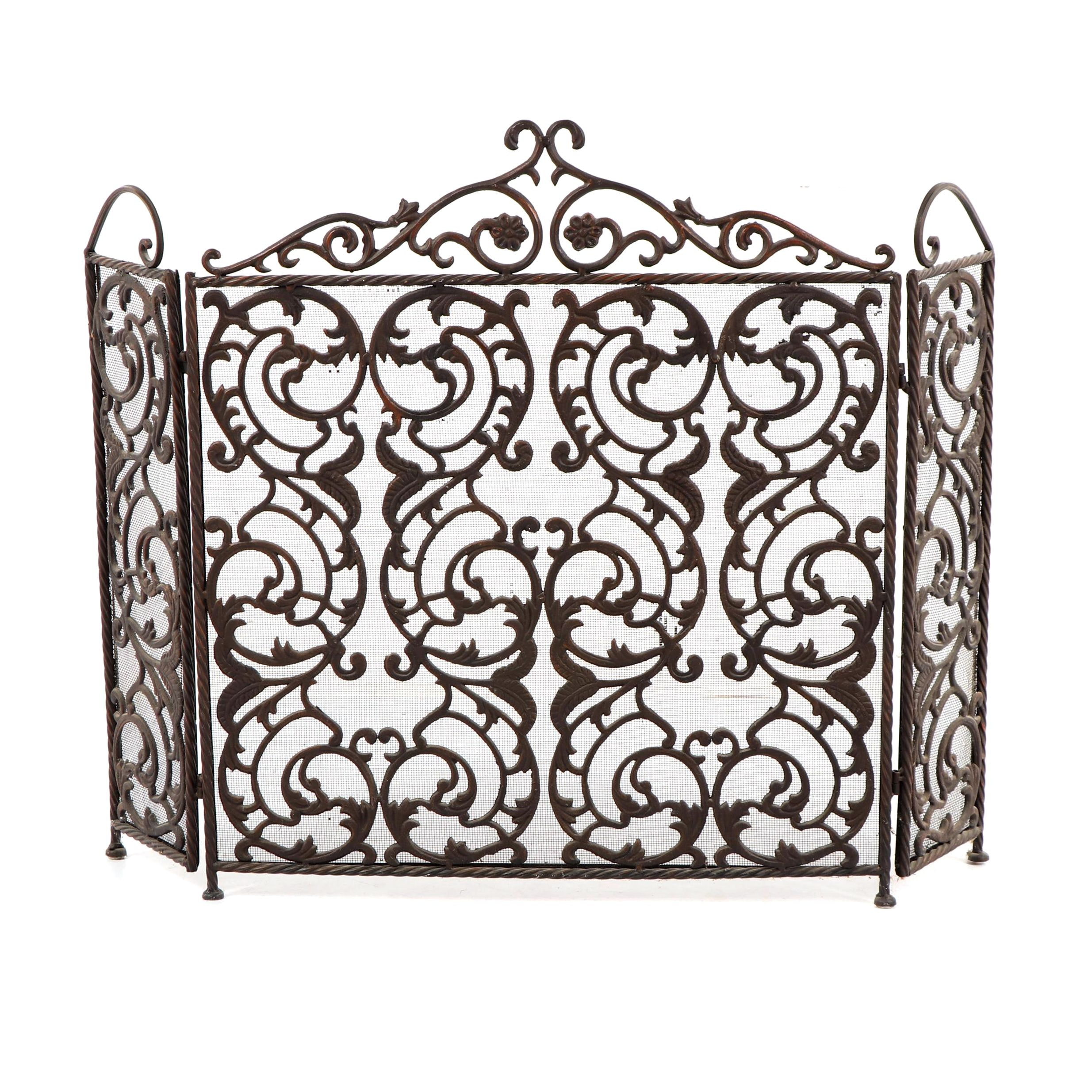 Reticulated Wrought Iron Nursery Fire Screen