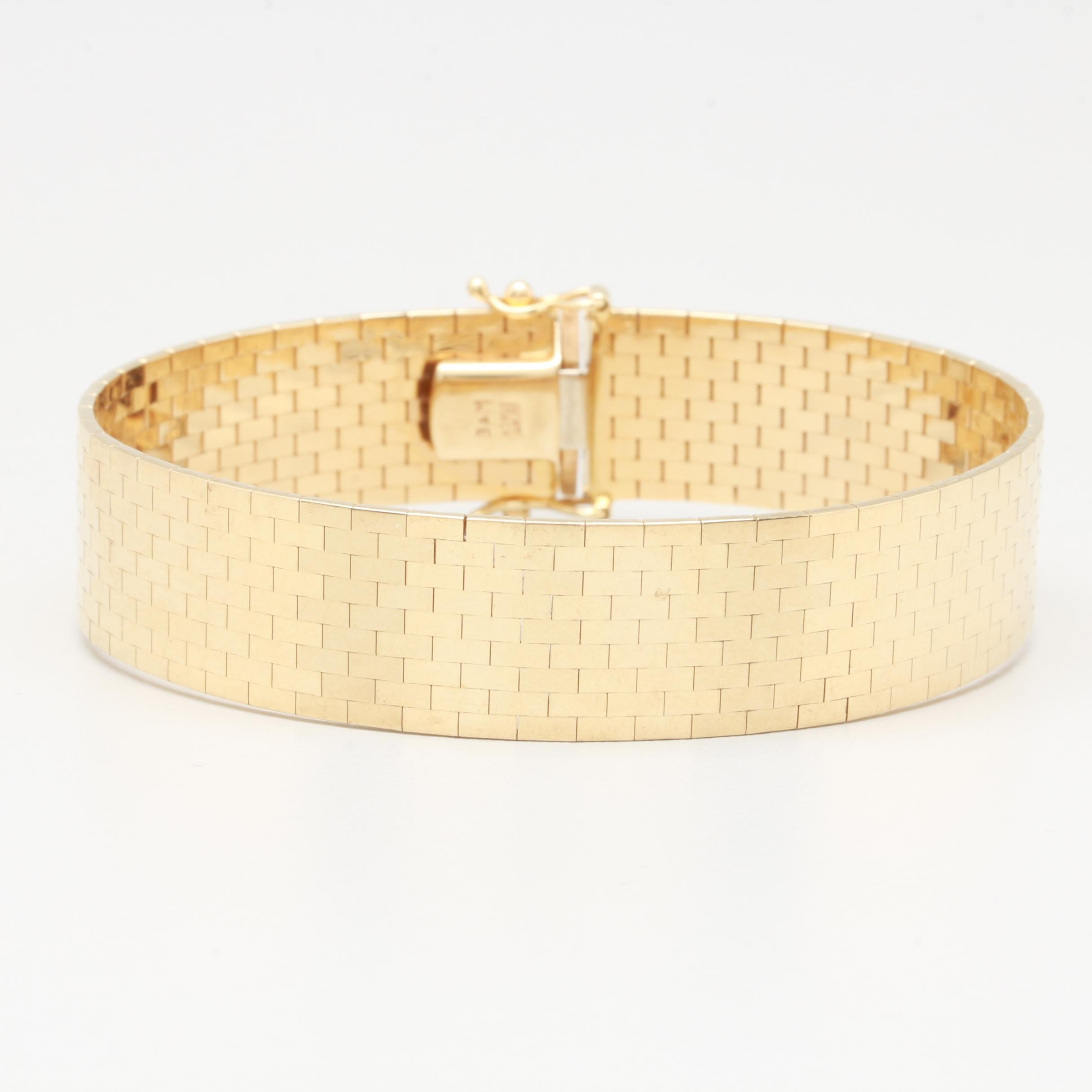 14K Yellow Gold Panther Mesh High Polished Bracelet