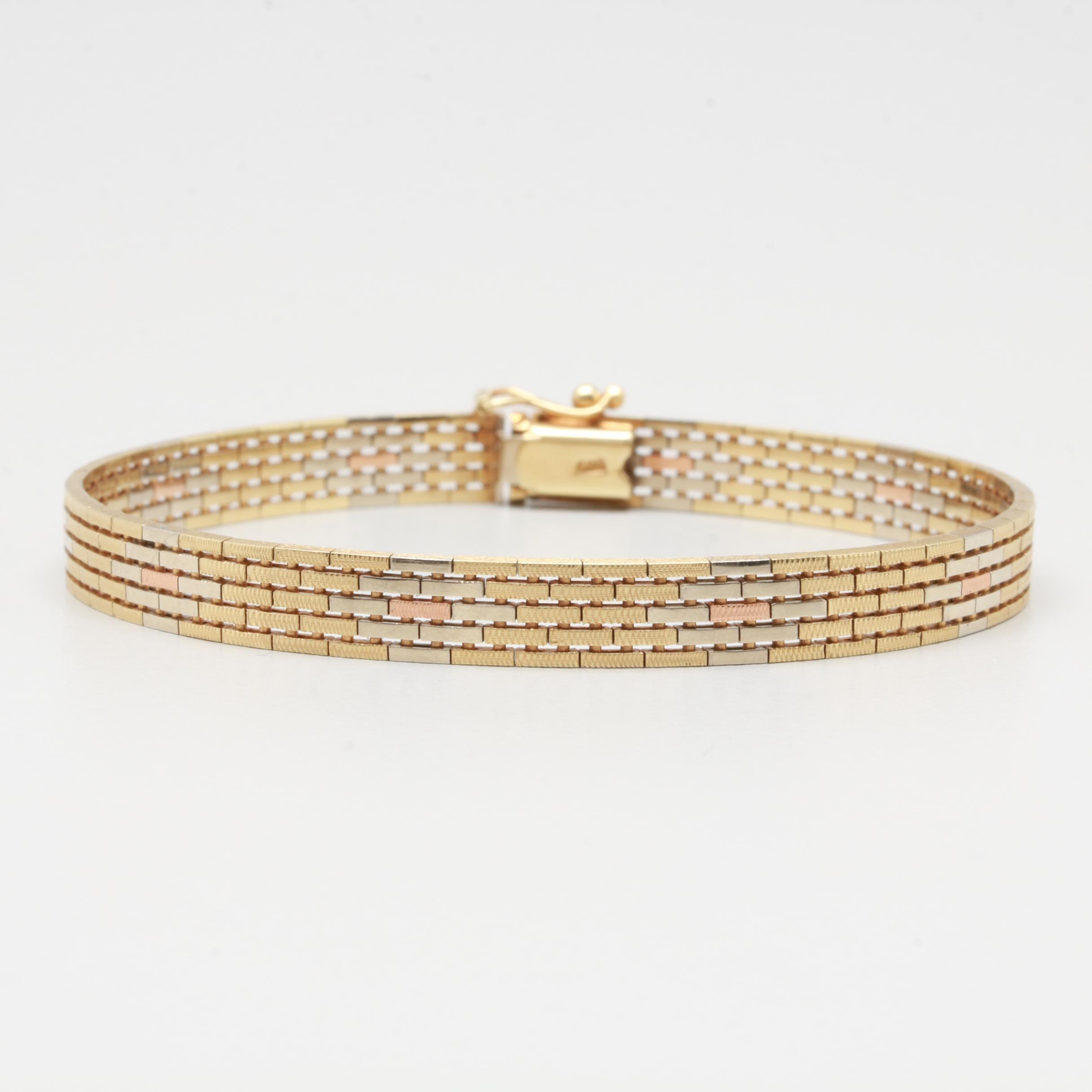 14K Tri-Color Gold Flat Panther Chain Bracelet