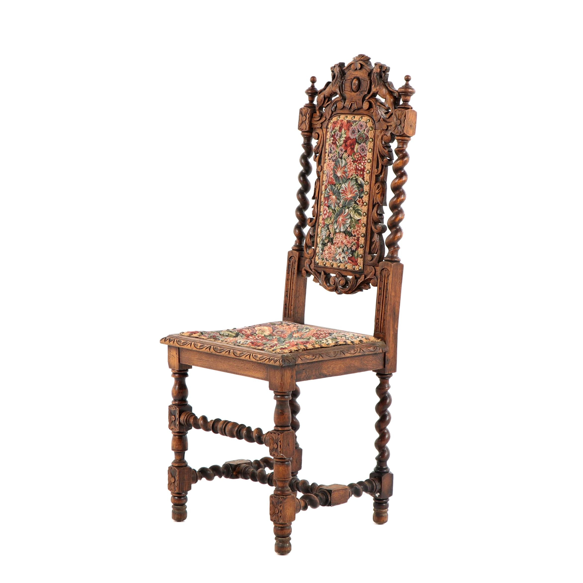 Renaissance Revival Style Carved Wood Side Chair, Early 20th Century