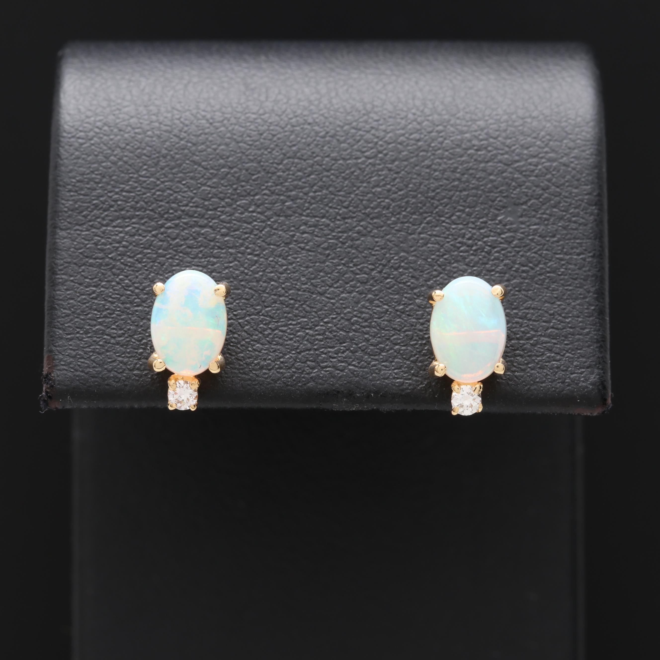18K Yellow Gold Opal and Diamond Stud Earrings