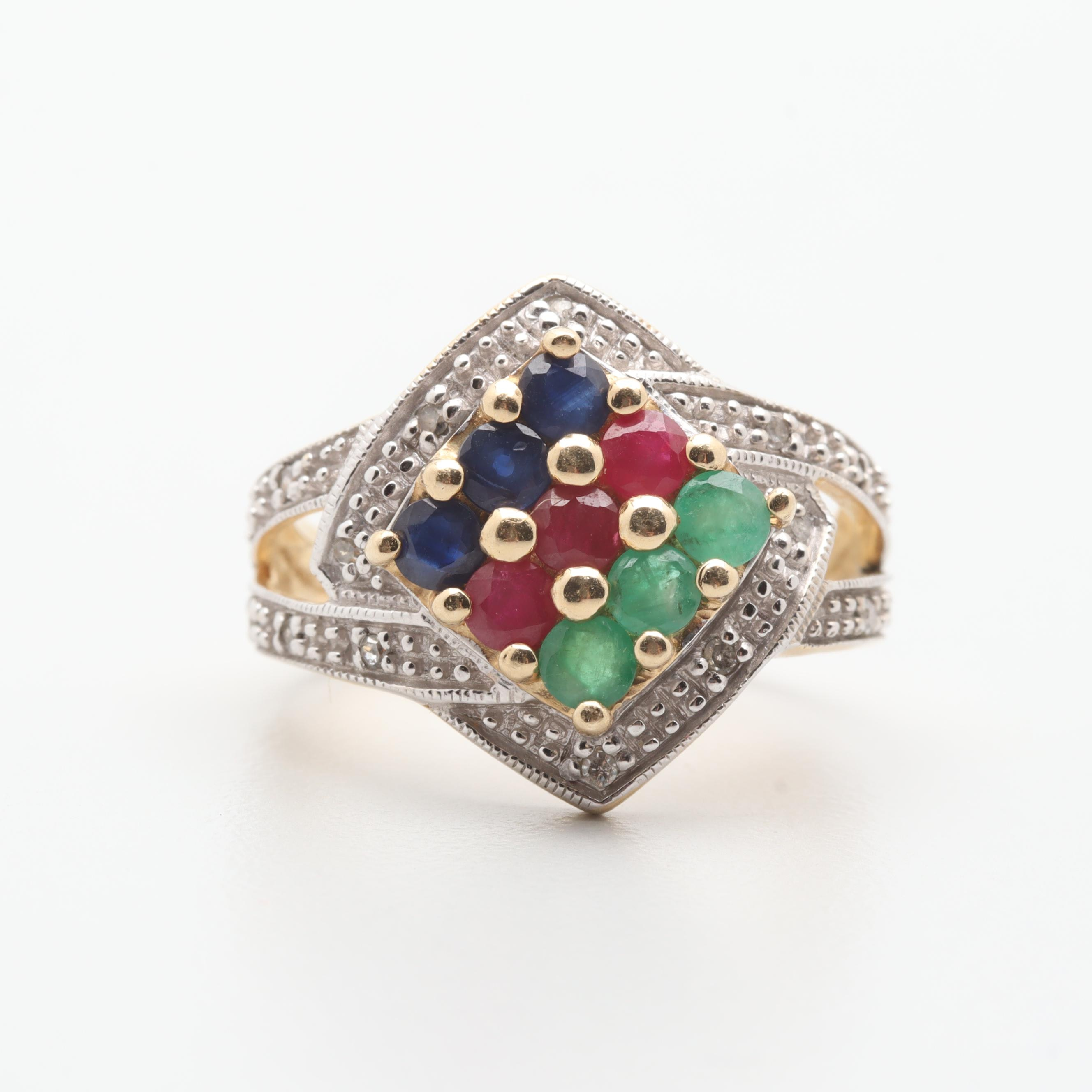 10K Yellow Gold Diamond Ring with Ruby, Emerald and Sapphire