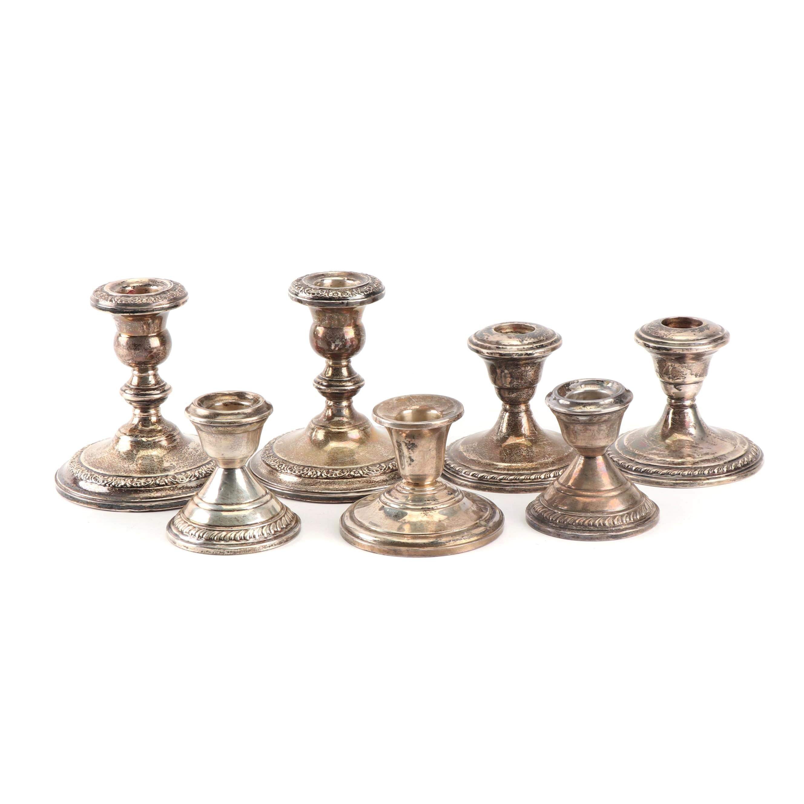 Weighted Sterling Candleholders featuring Amston, La Pierre and Frank M. Whiting