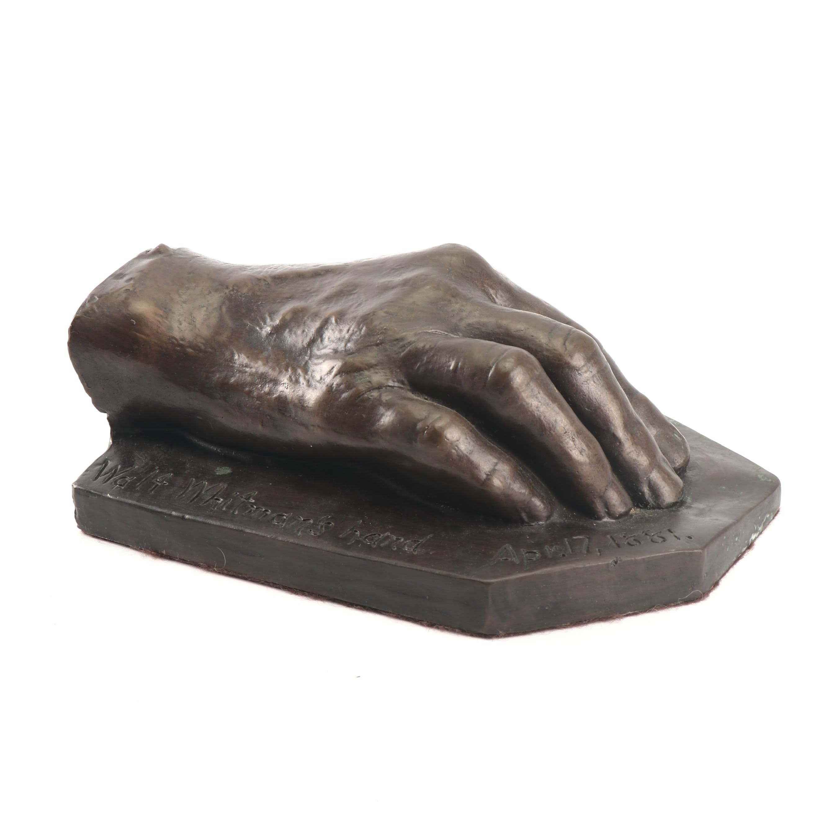 Limited Edition Reproduction Bronze Casting of Walt Whitman's Hand