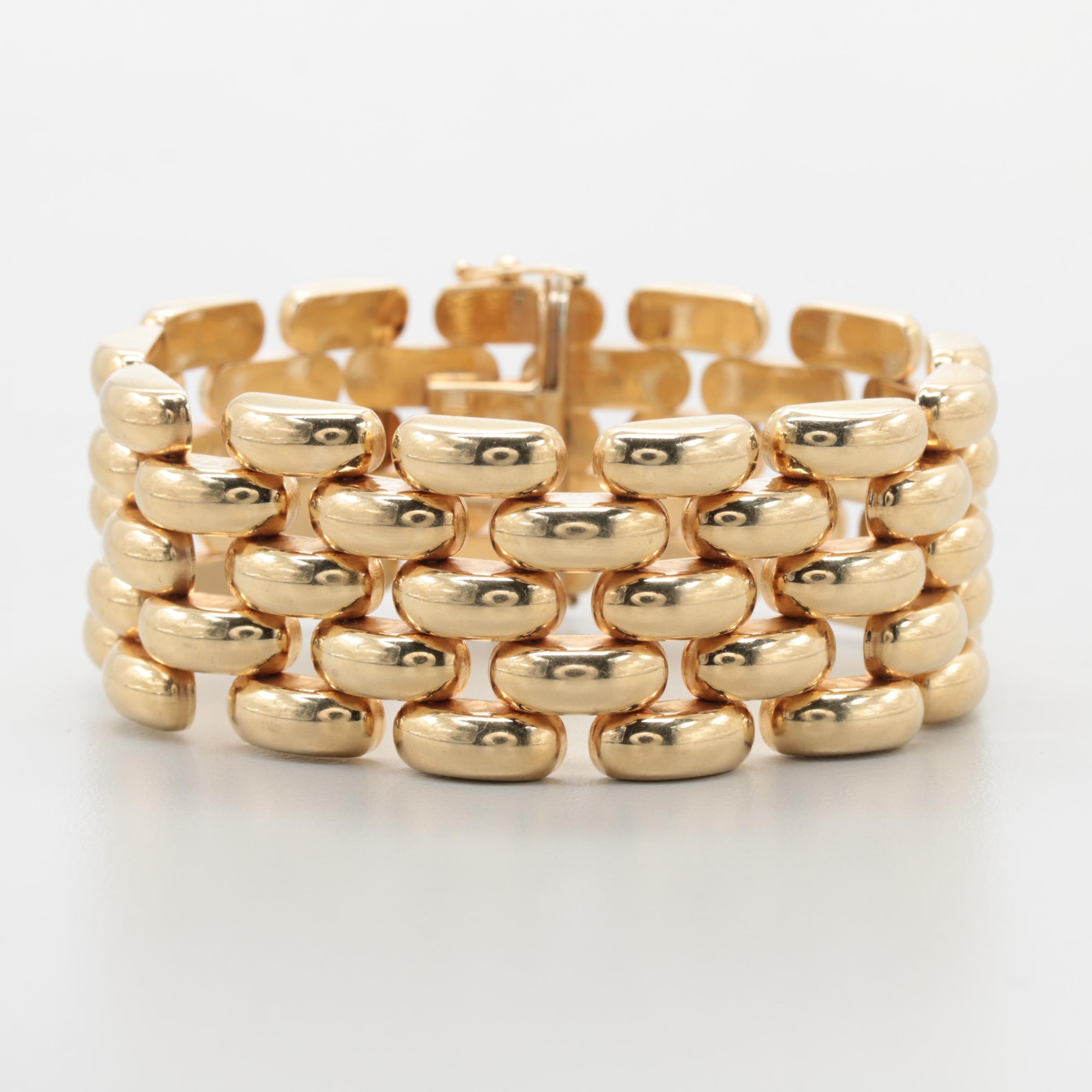 Italian 14K Yellow Gold Panther Link Chain Bracelet