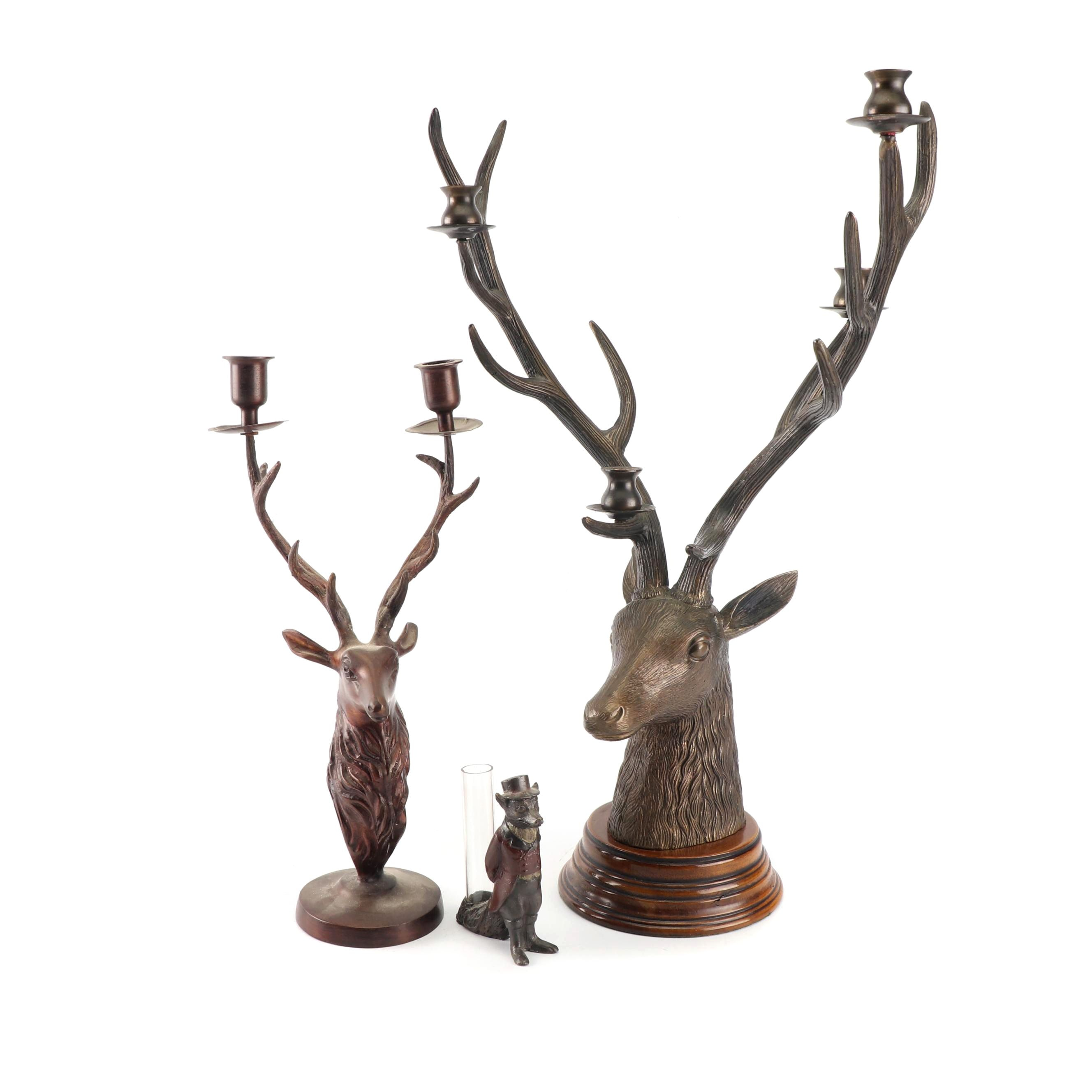 Metal Stag Head Candelabras with Fox Bud Vase