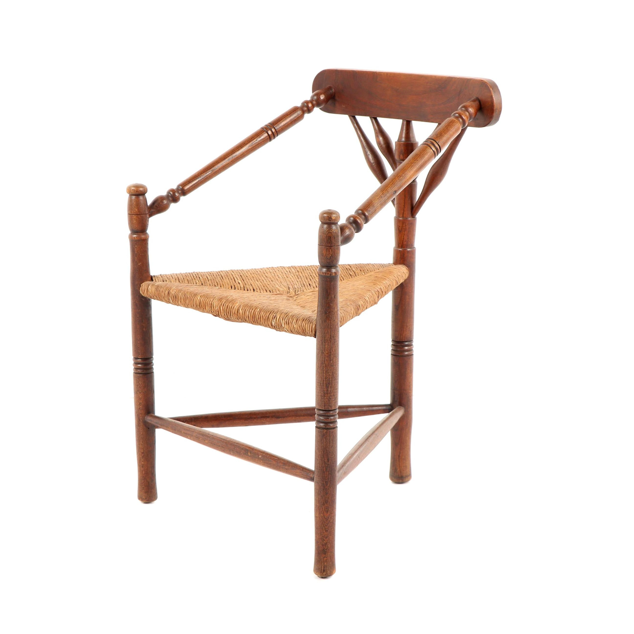Maple Corner Chair with Woven Grass Seat, Early 20th Century