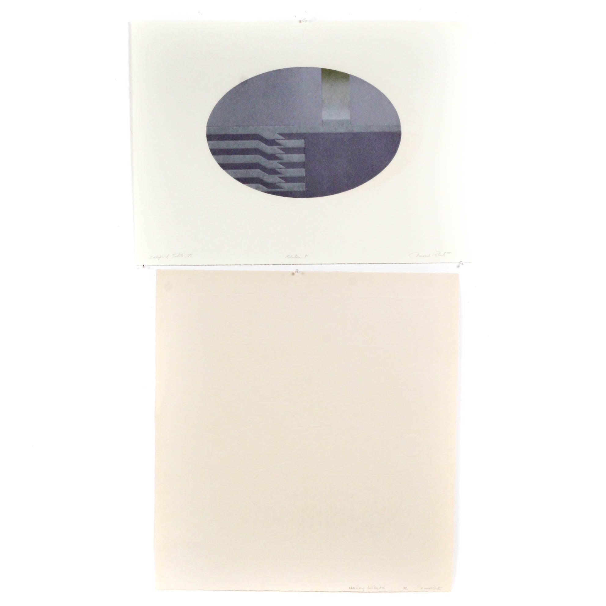 """Donald Roberts Serigraph on Embossed Paper """"White Relief and """"Ellipsoid"""""""