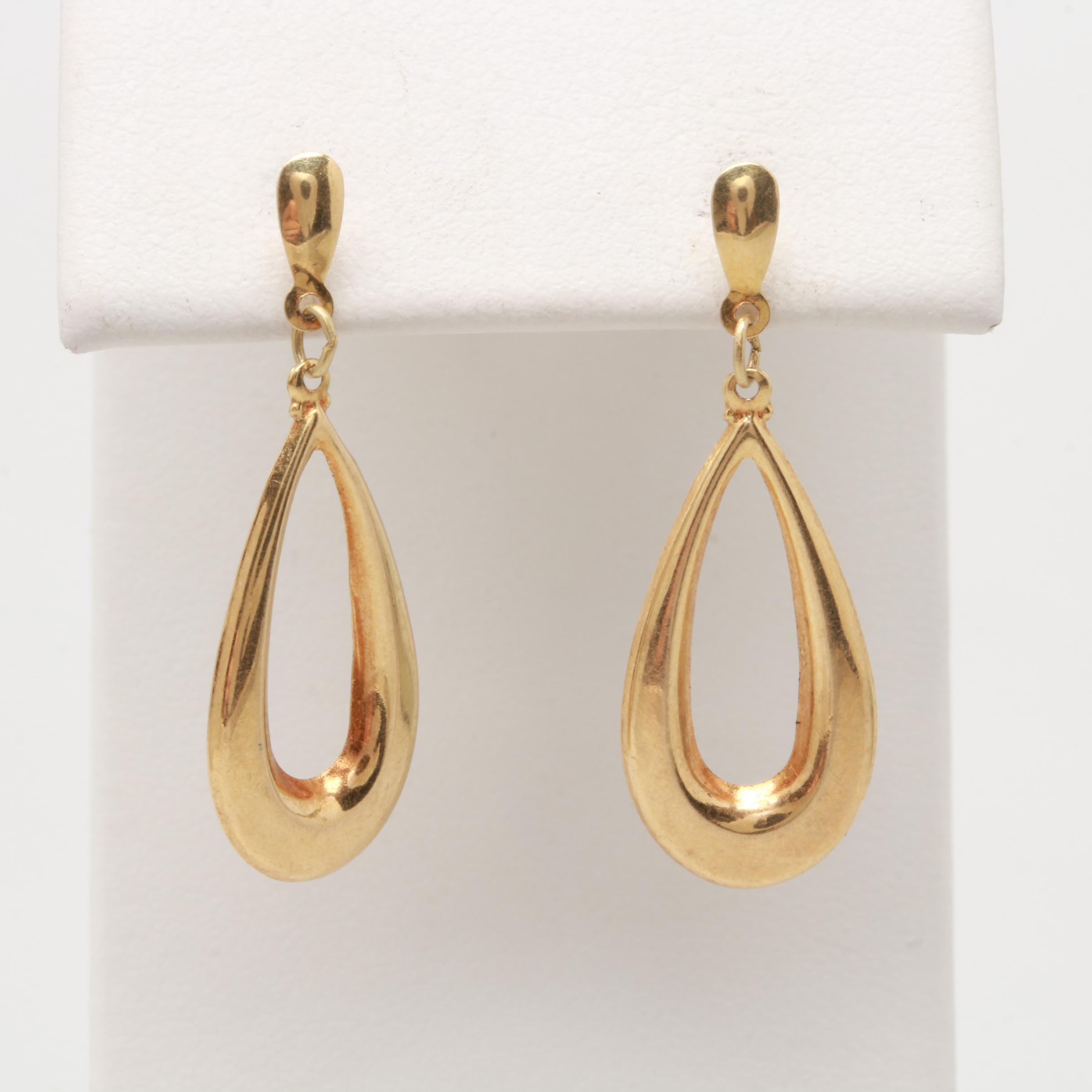 14K Yellow Gold Elongated Oval Dangle Earrings