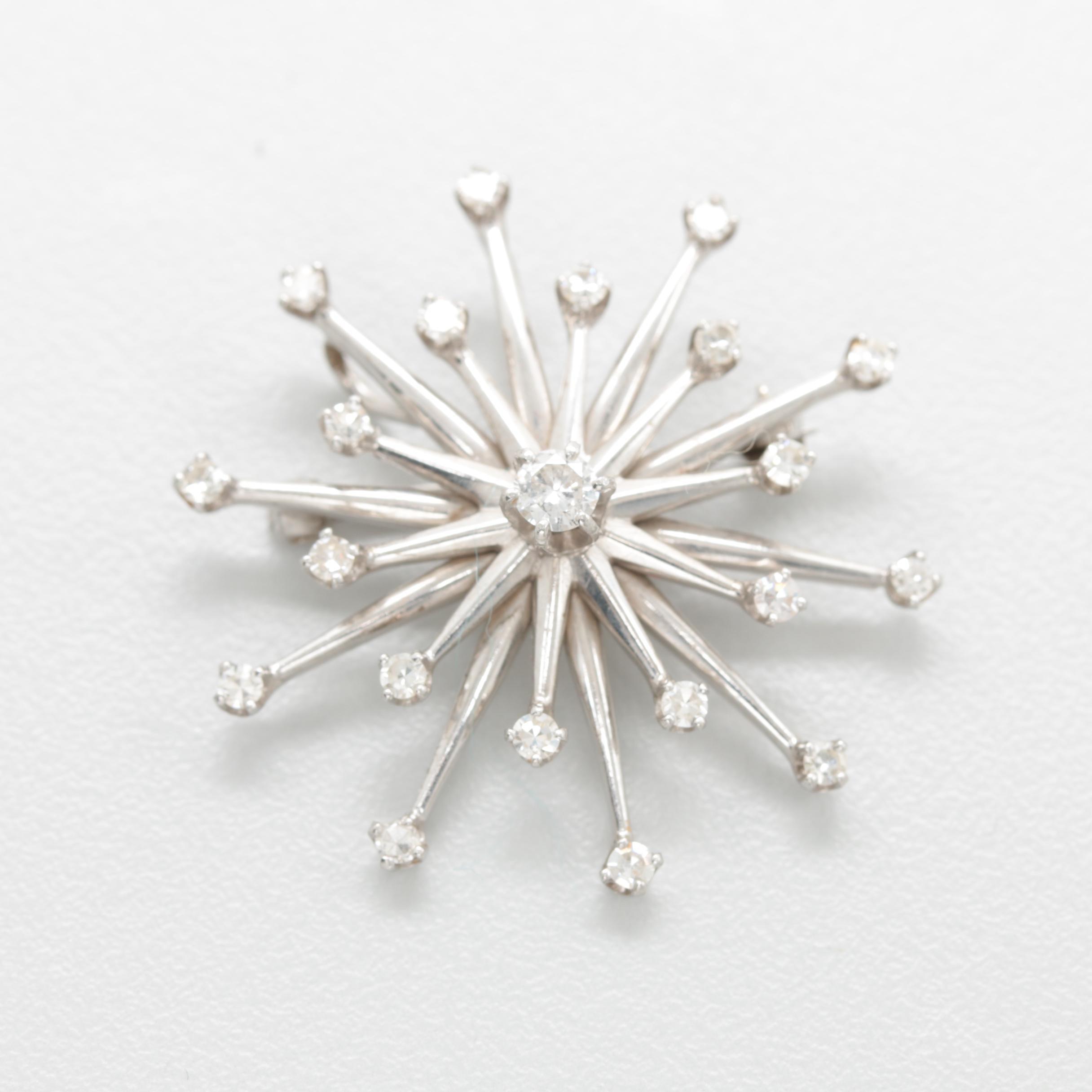 14K White Gold Diamond Star Motif Converter Brooch with Palladium Accents